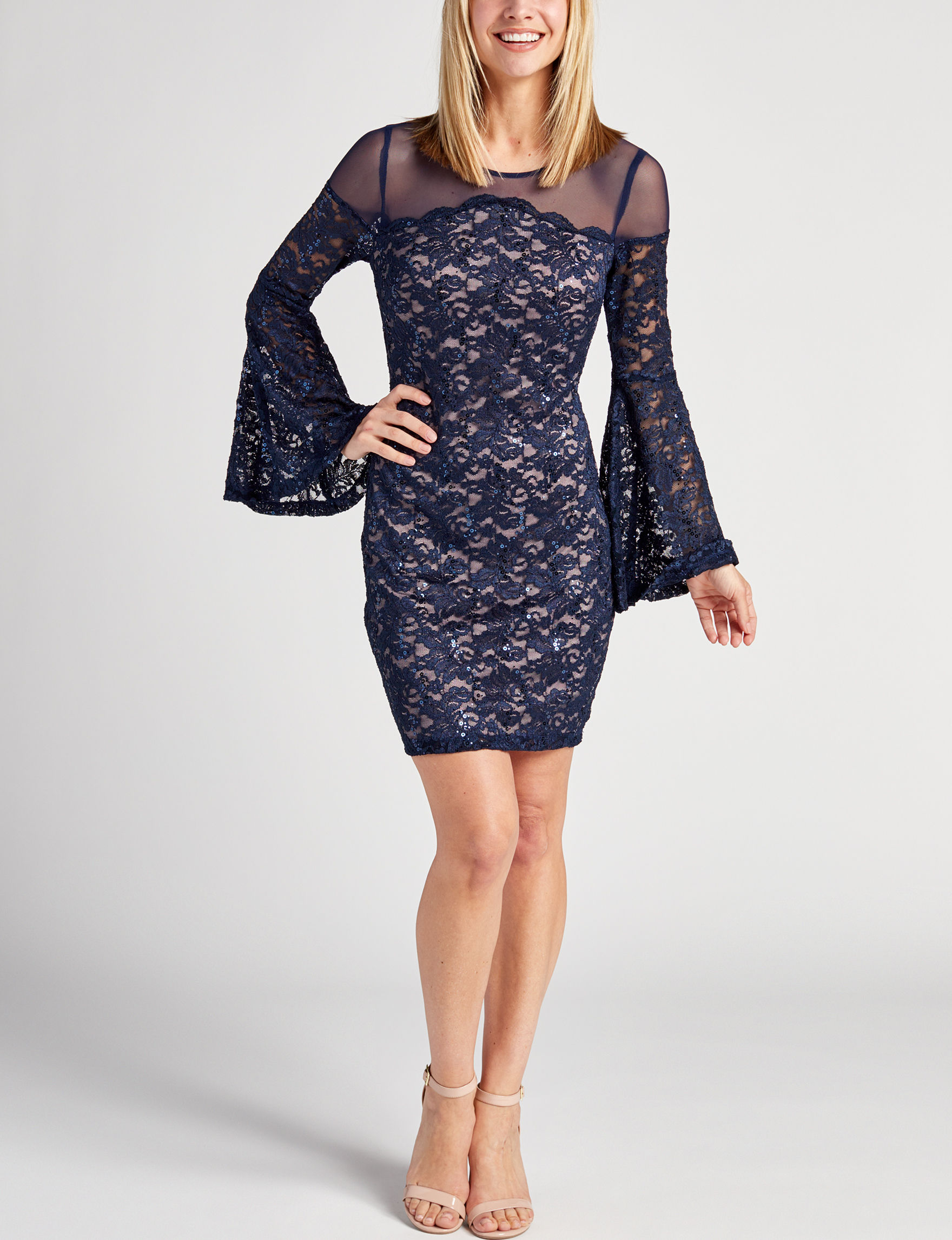 Sequin Hearts Navy Cocktail & Party Evening & Formal