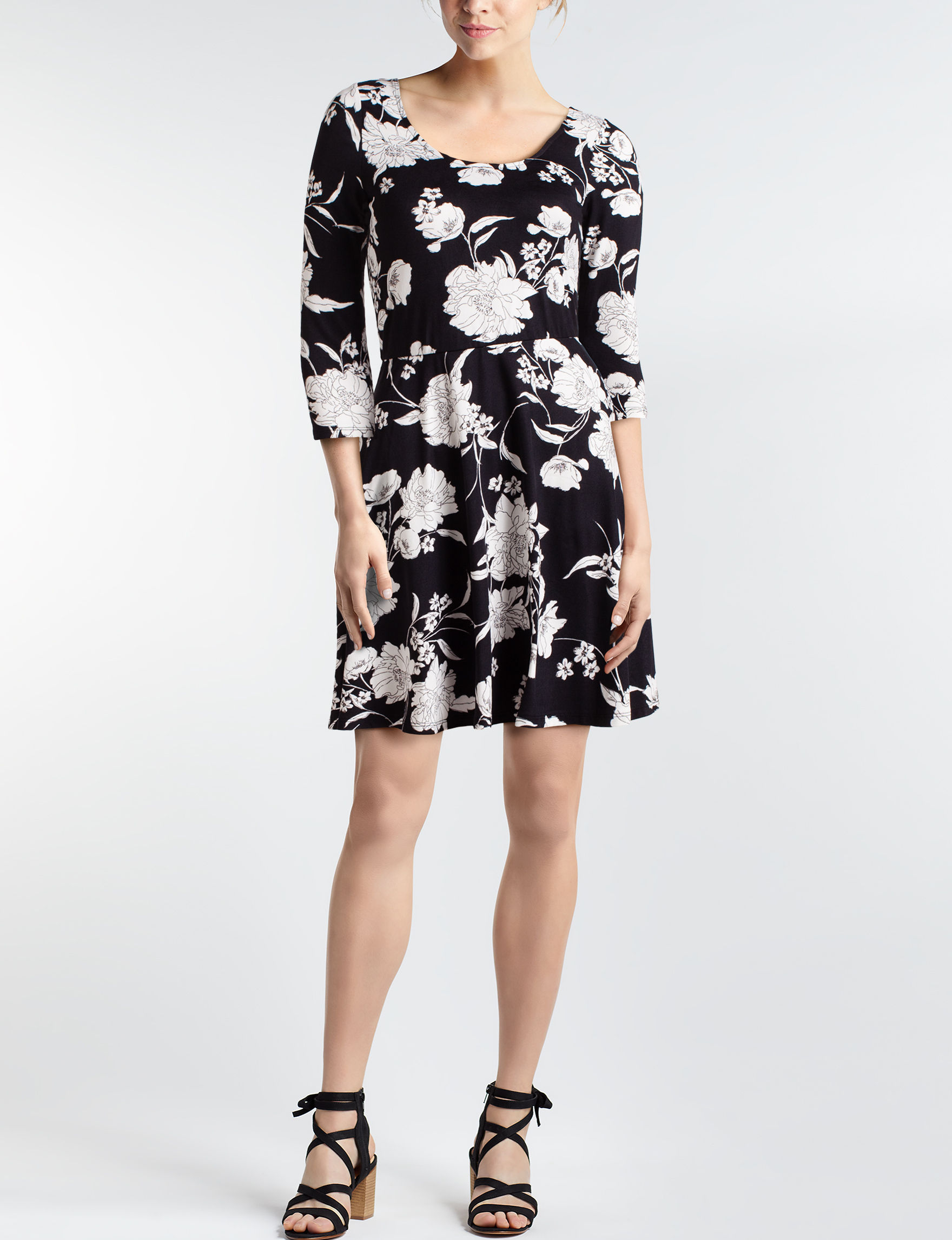 A. Byer Black White Everyday & Casual Fit & Flare Dresses
