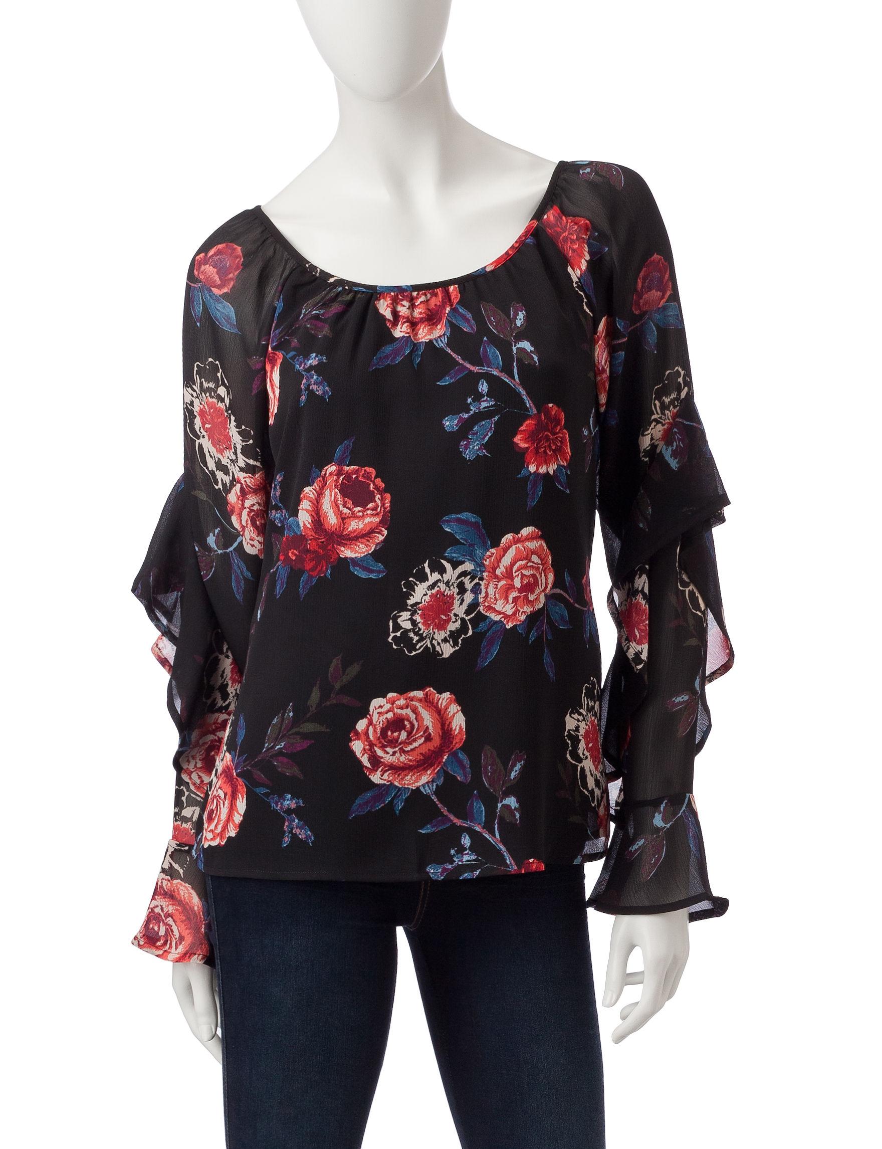 Heart Soul Black Floral Shirts & Blouses