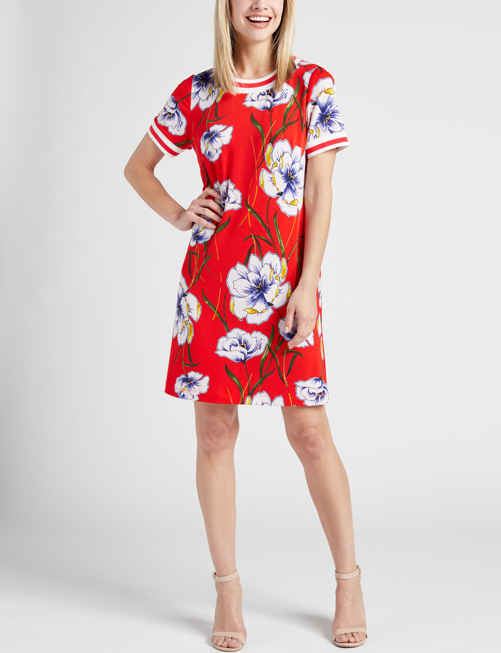 Madison Leigh Red Floral Everyday & Casual Shift Dresses