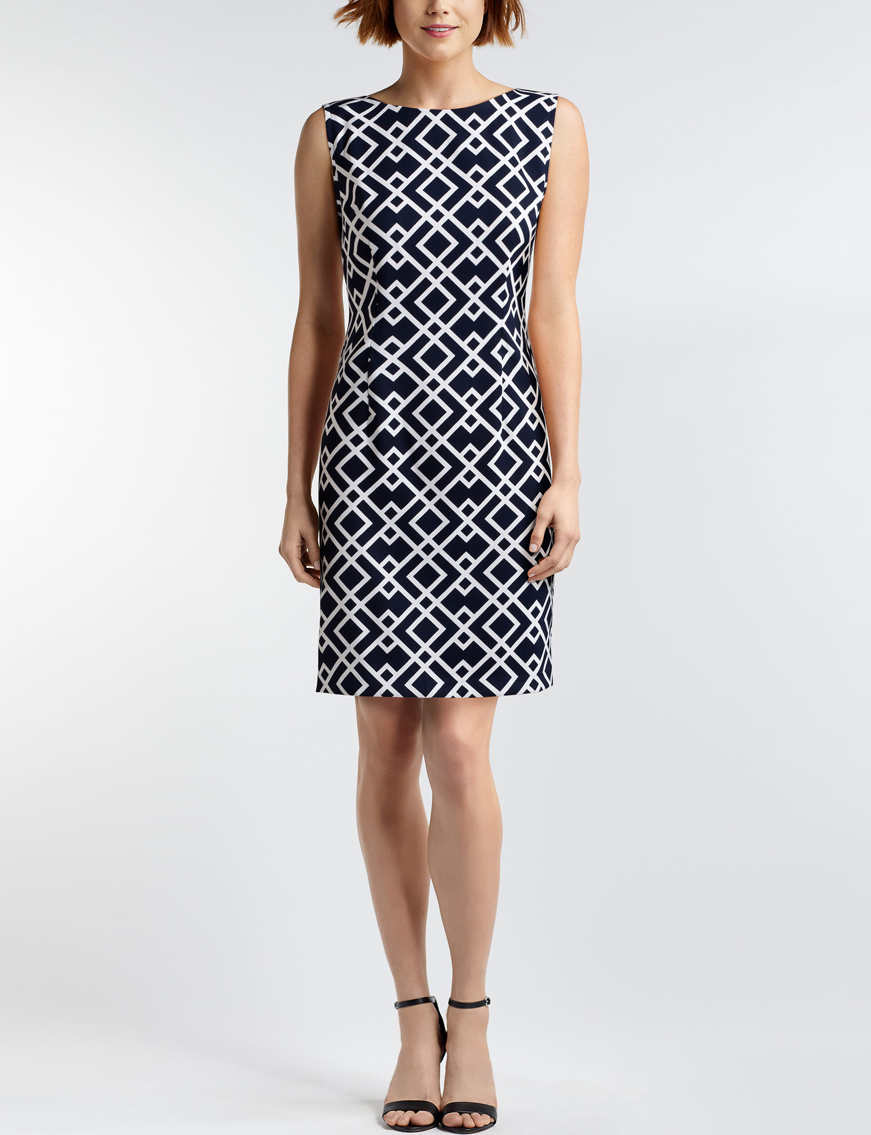 Connected Navy / White Everyday & Casual Sheath Dresses