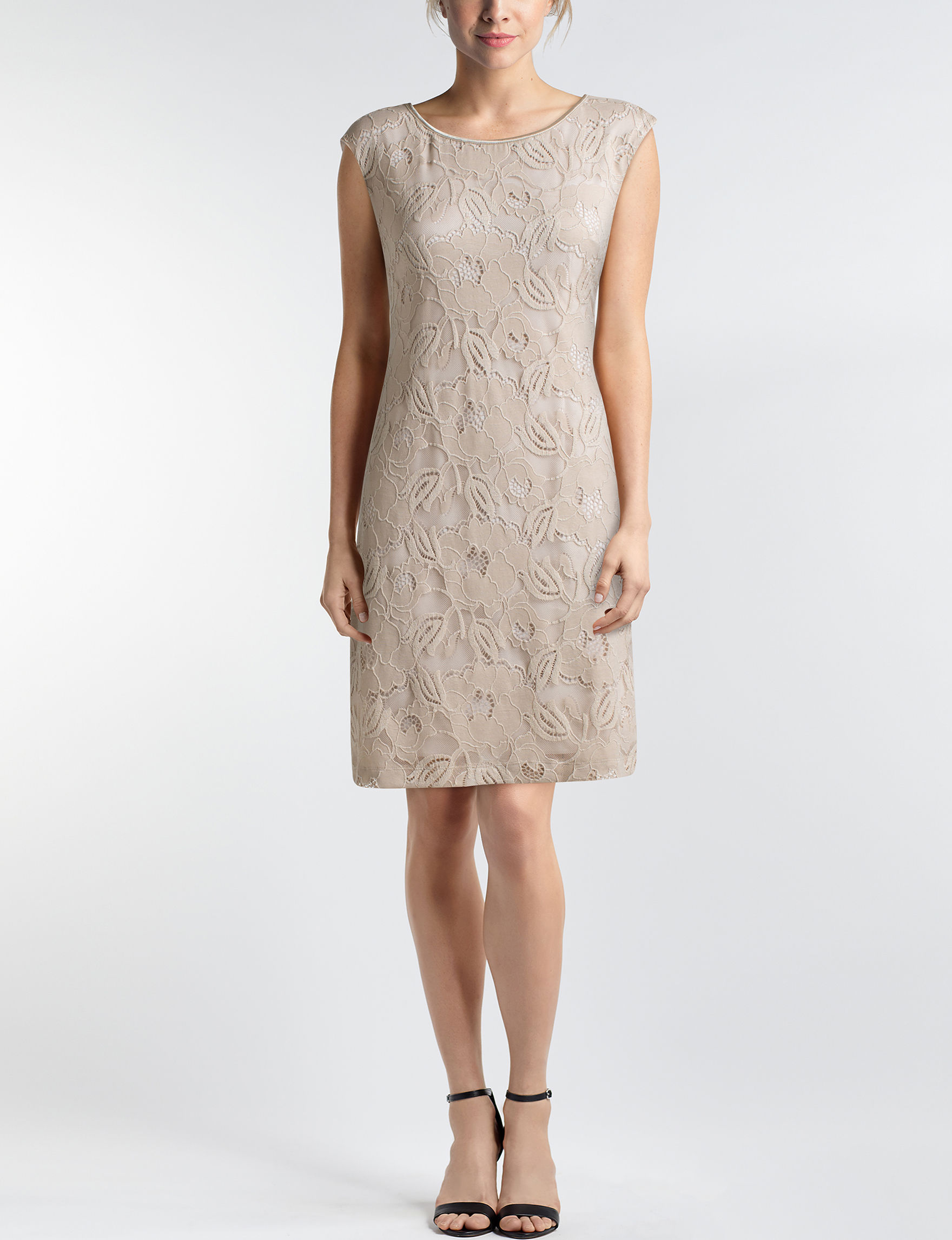 Connected Beige Everyday & Casual Sheath Dresses