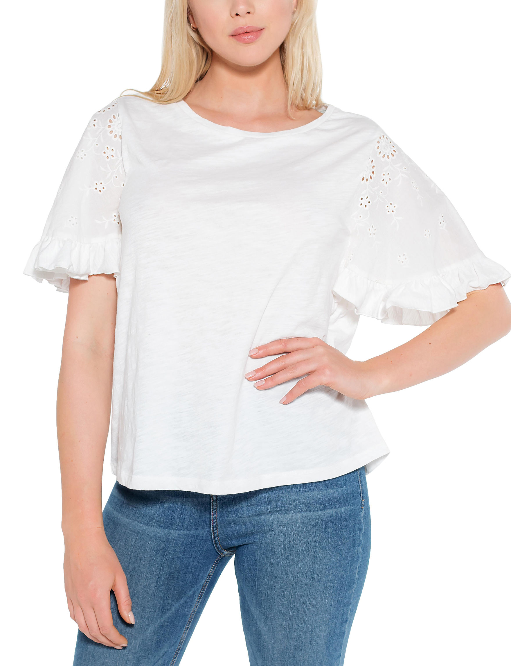 C + J Collections White Shirts & Blouses