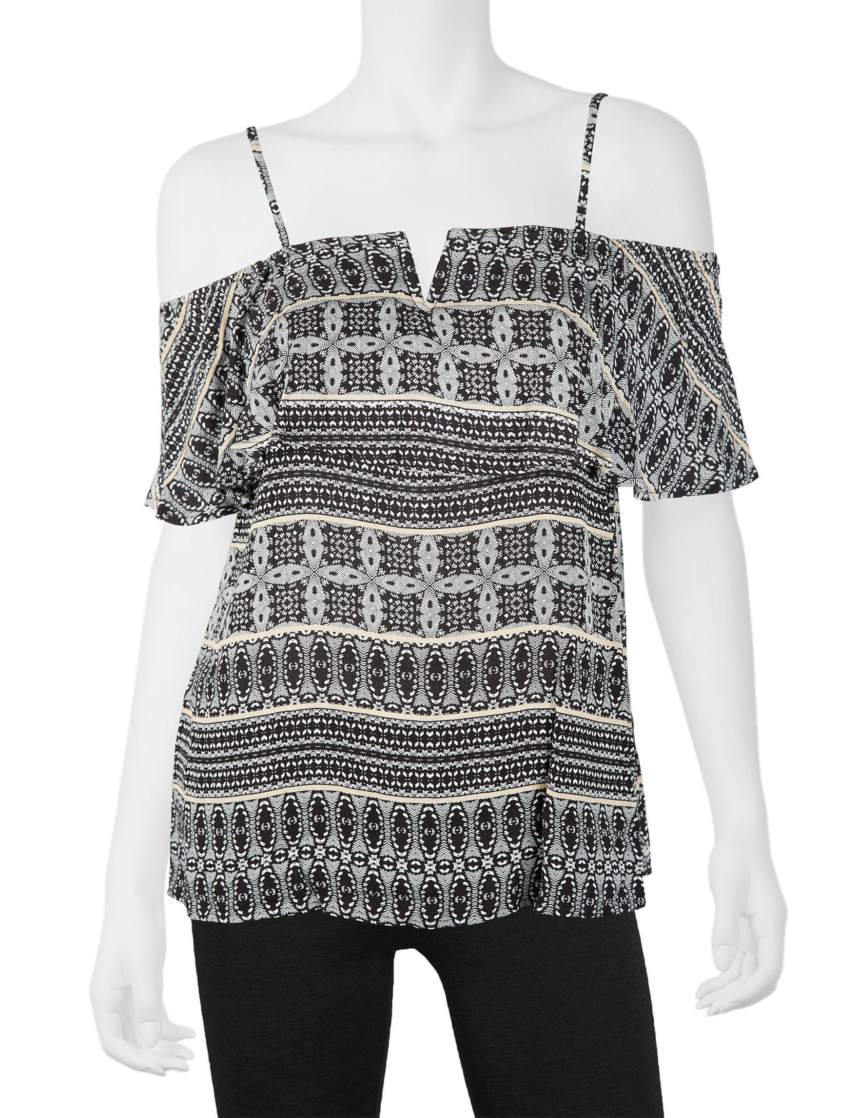 A. Byer Black / White Shirts & Blouses