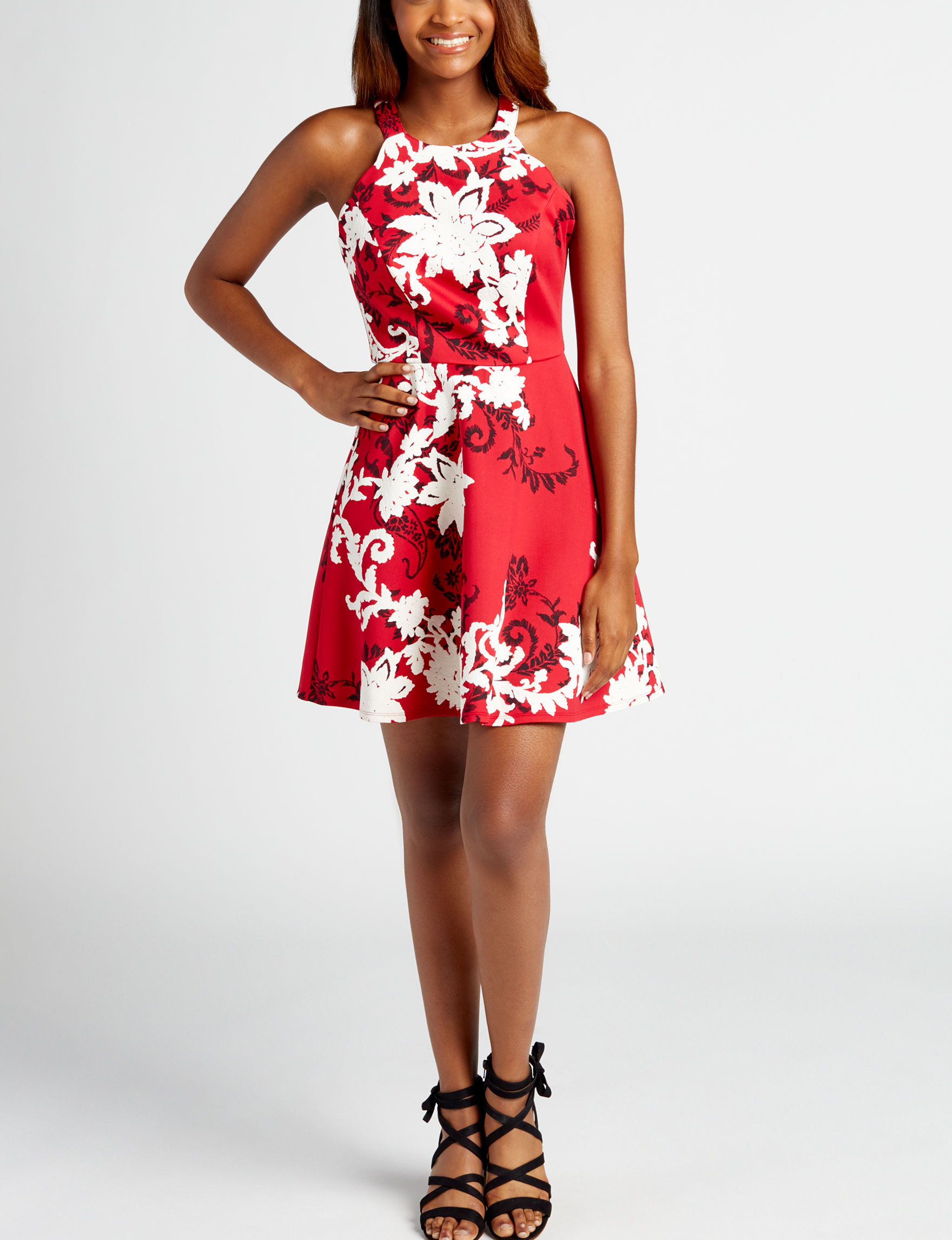 Trixxi Red Floral Evening & Formal Fit & Flare Dresses