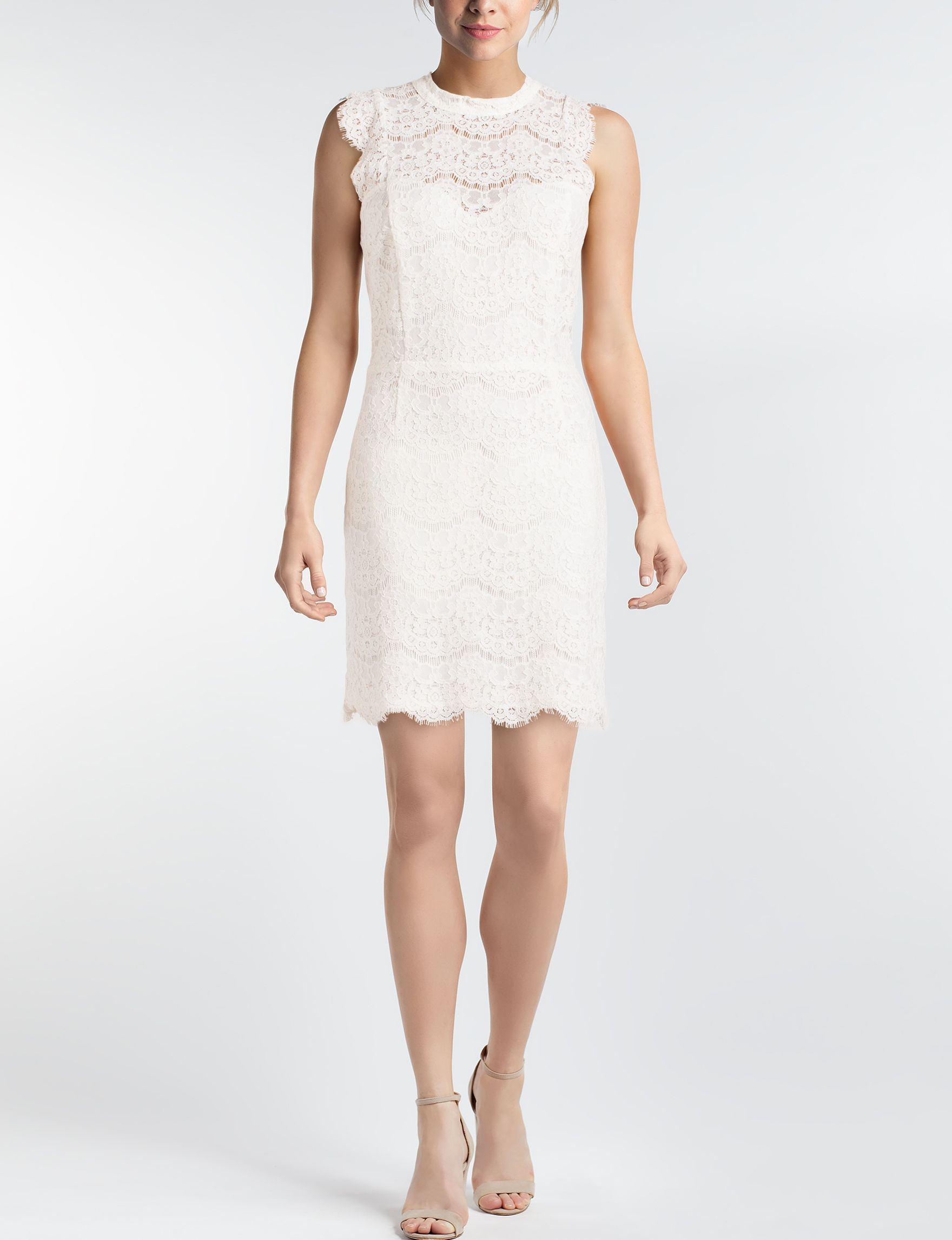 Love Fire White Cocktail & Party Sheath Dresses