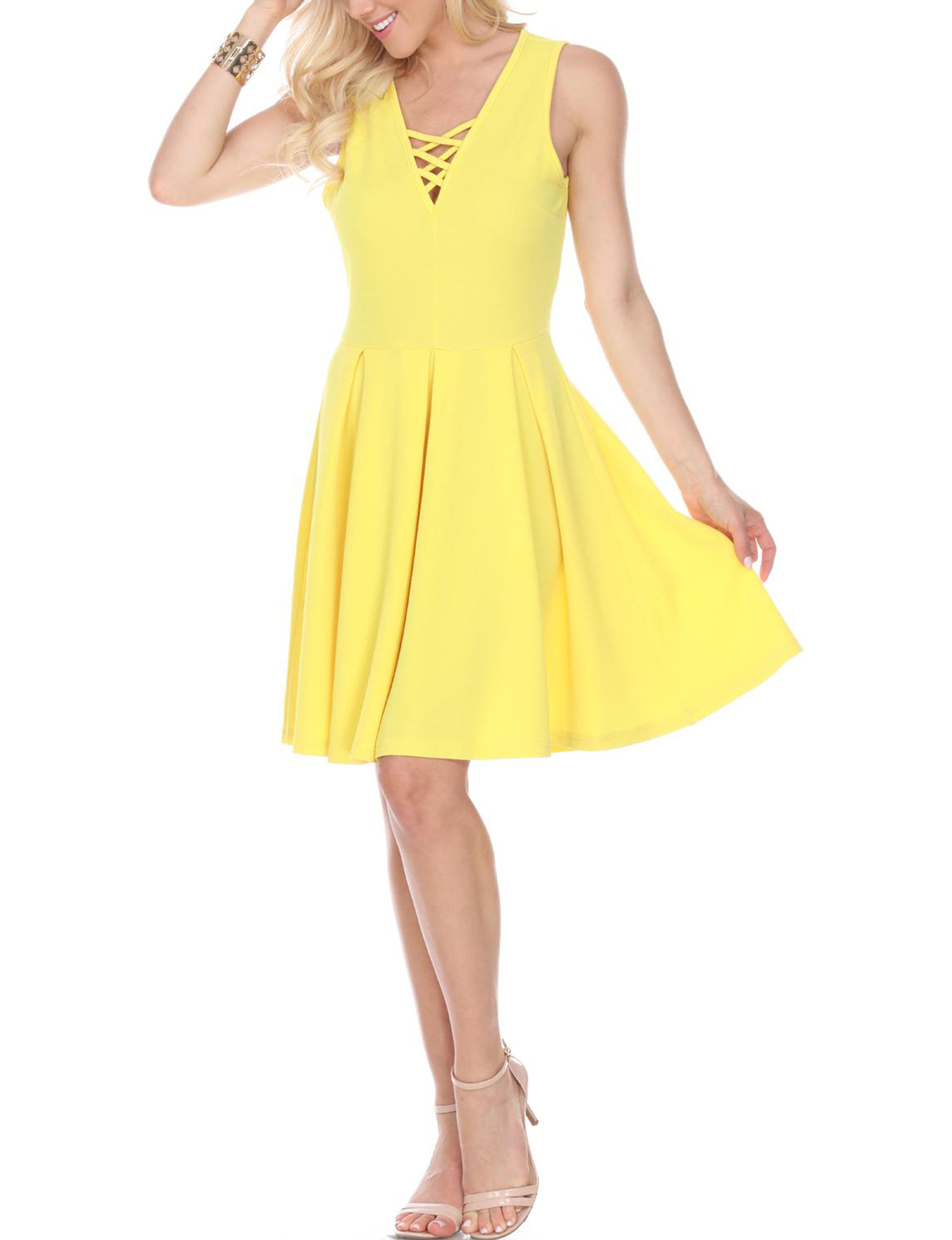 White Mark Yellow Everyday & Casual Fit & Flare Dresses