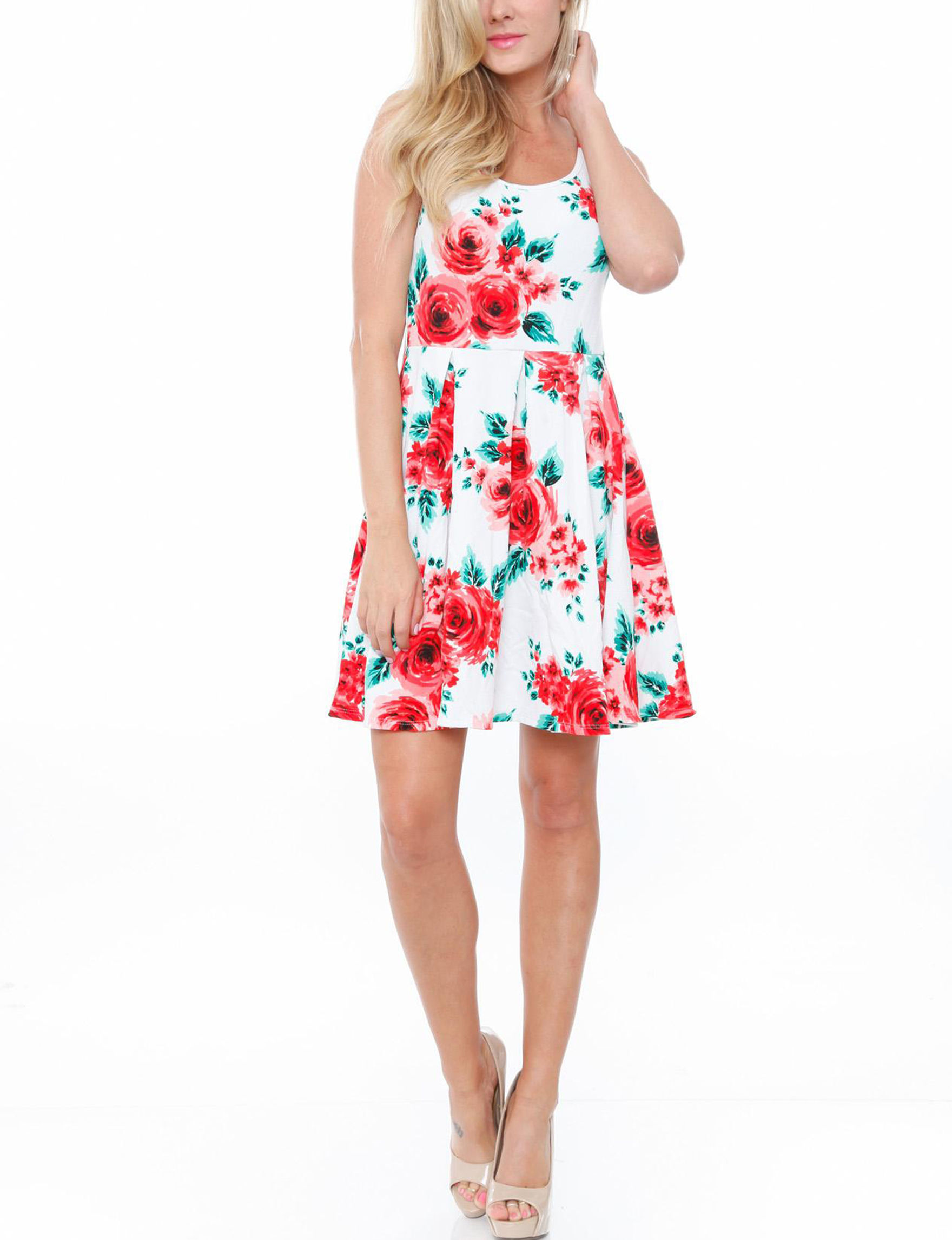 White Mark Red Floral Everyday & Casual Fit & Flare Dresses