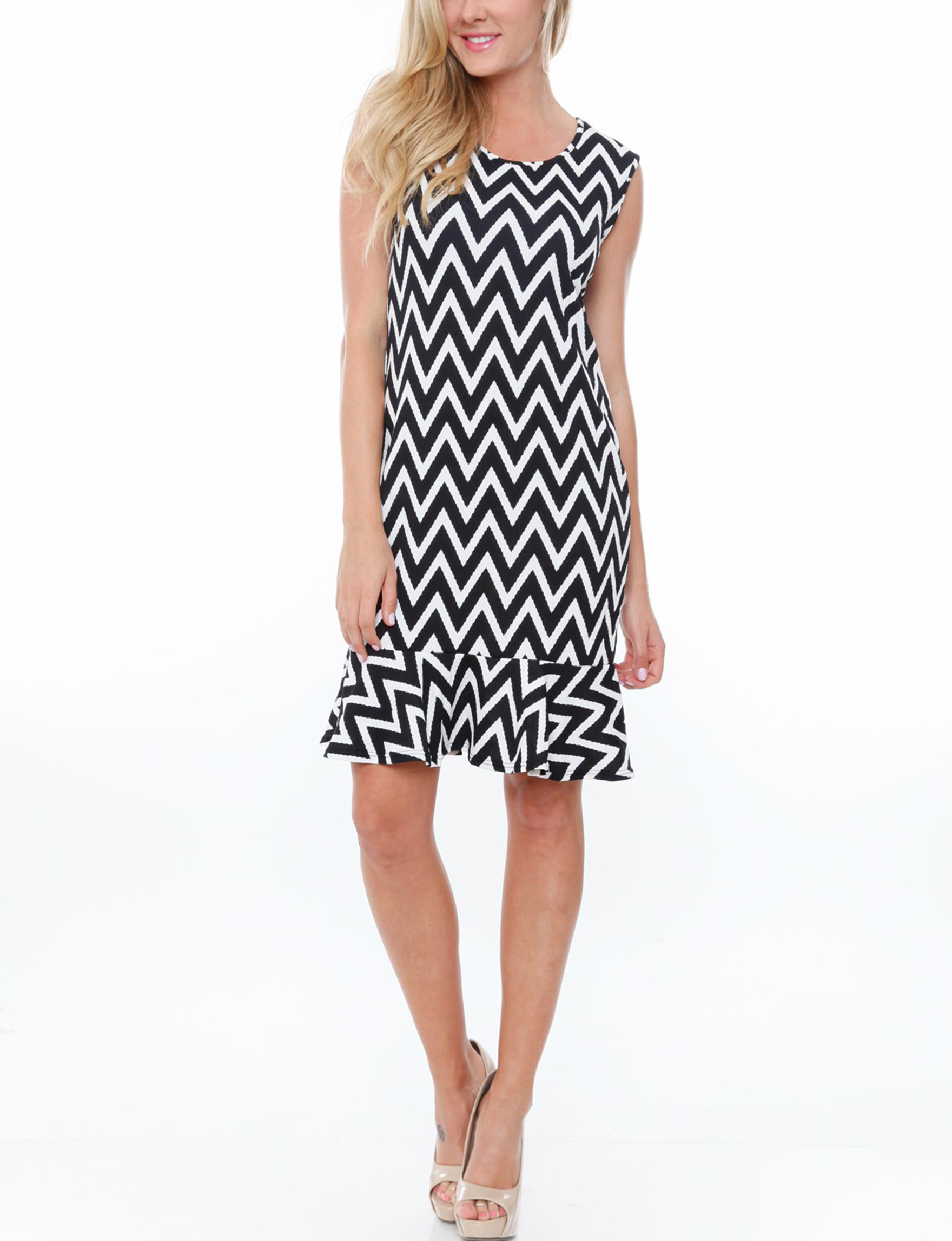 White Mark Black /  White Everyday & Casual Fit & Flare Dresses