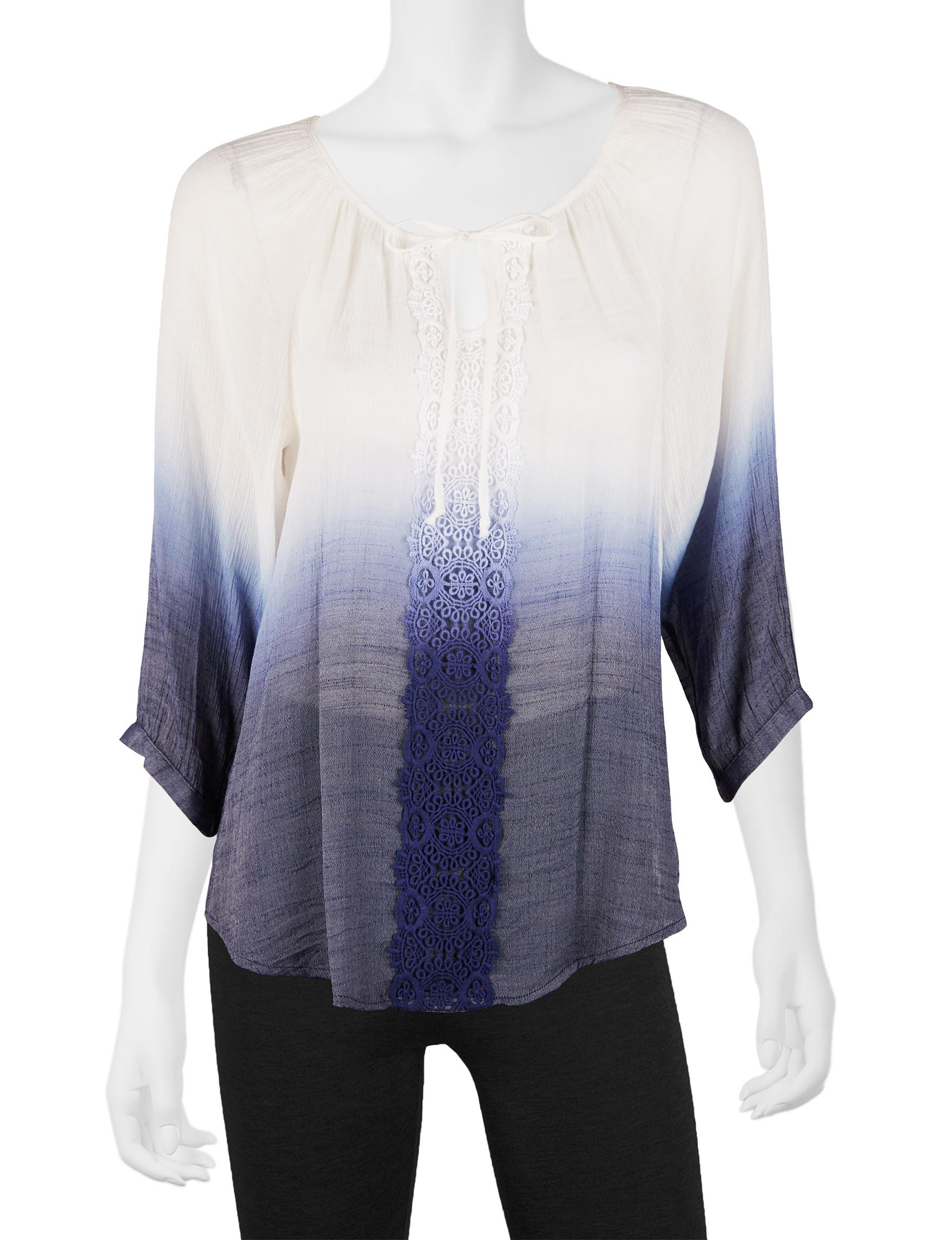 A. Byer White / Navy Shirts & Blouses
