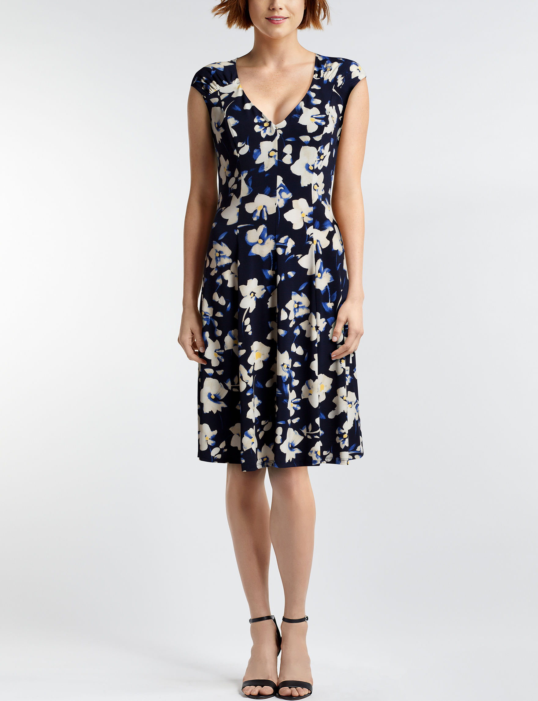 London Times Navy Everyday & Casual A-line Dresses Fit & Flare Dresses