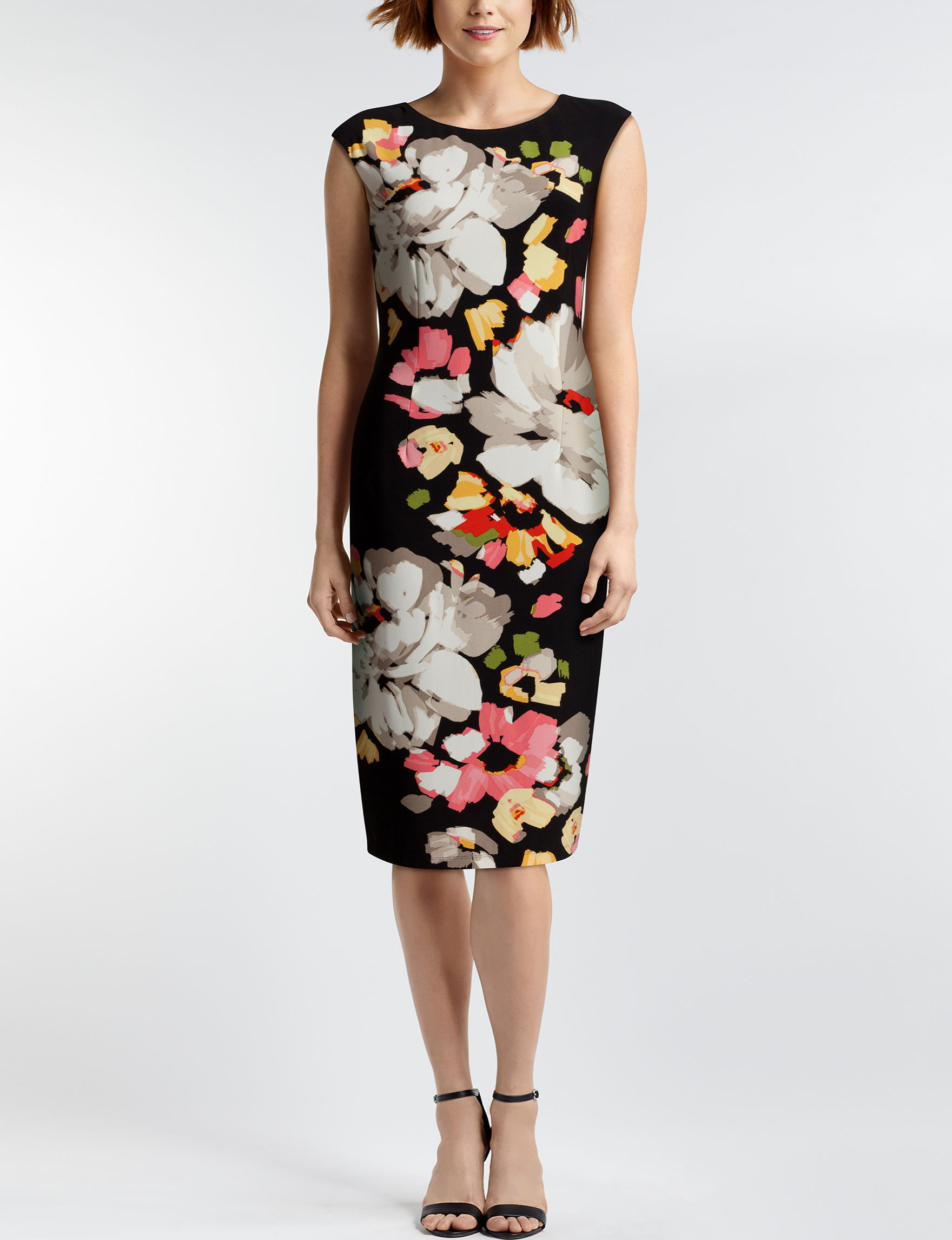 London Times Black Floral Everyday & Casual Sheath Dresses