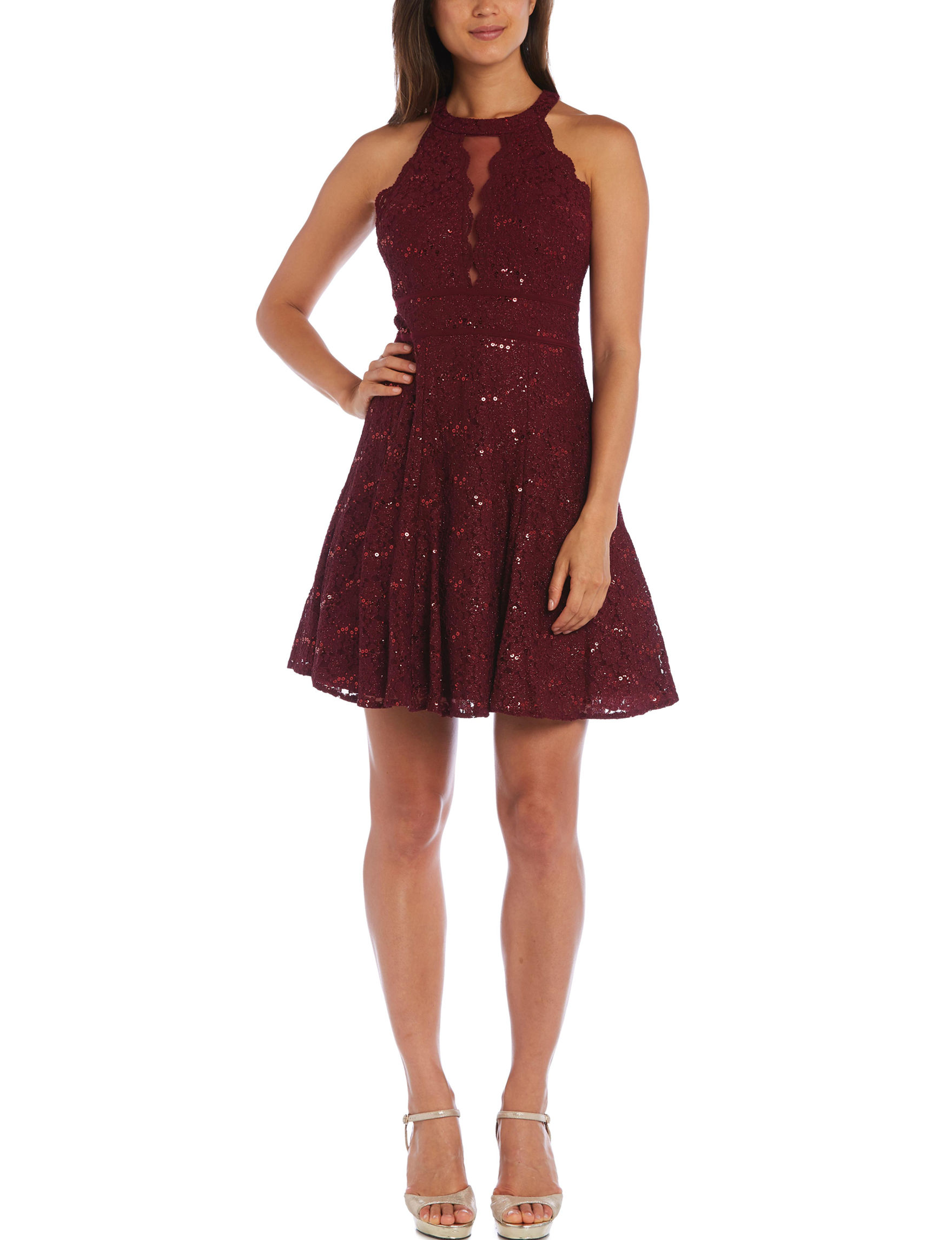 Morgan & Co. Merlot Cocktail & Party Fit & Flare Dresses