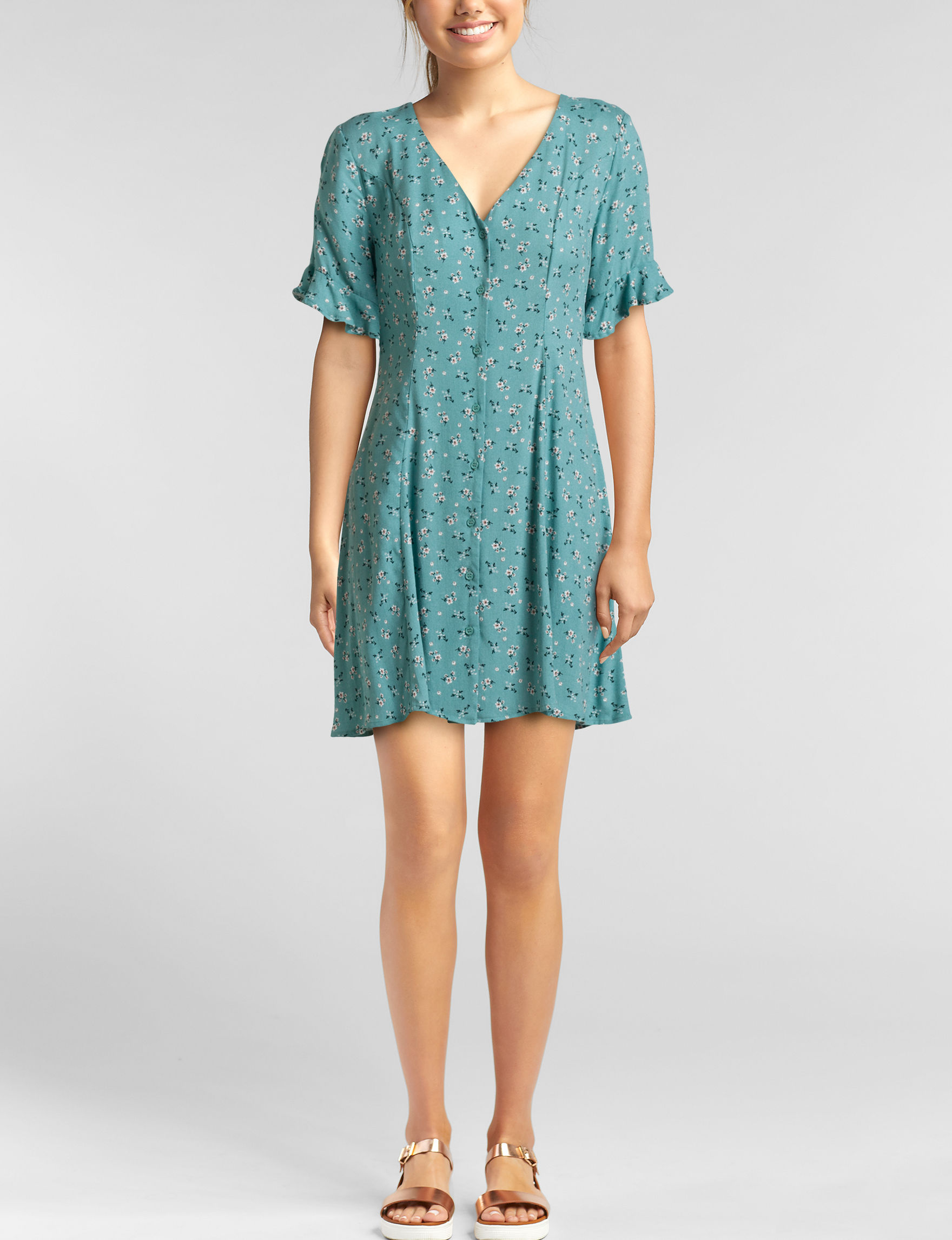 Love Fire Teal Everyday & Casual Shift Dresses