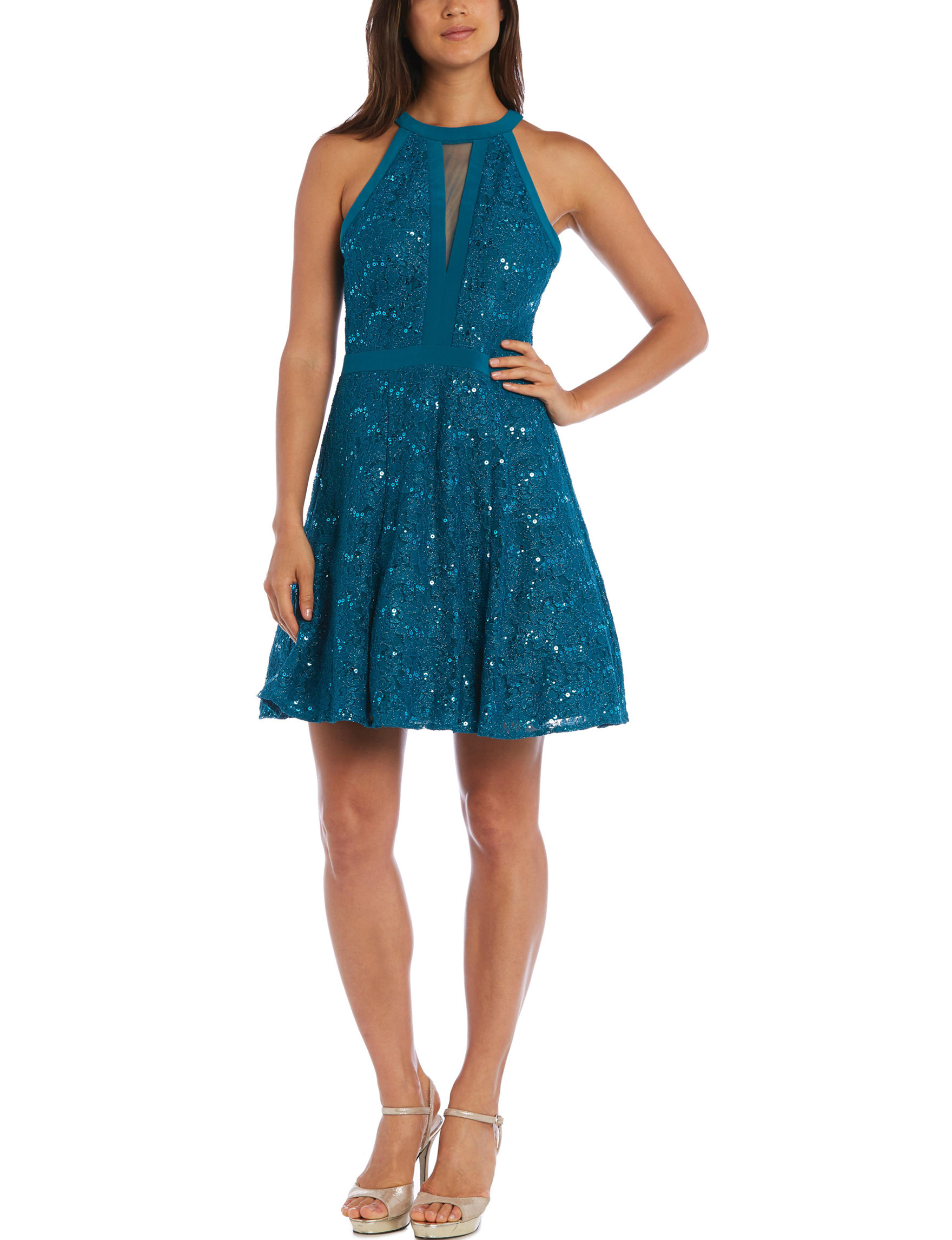 Morgan & Co. Blue Cocktail & Party Fit & Flare Dresses