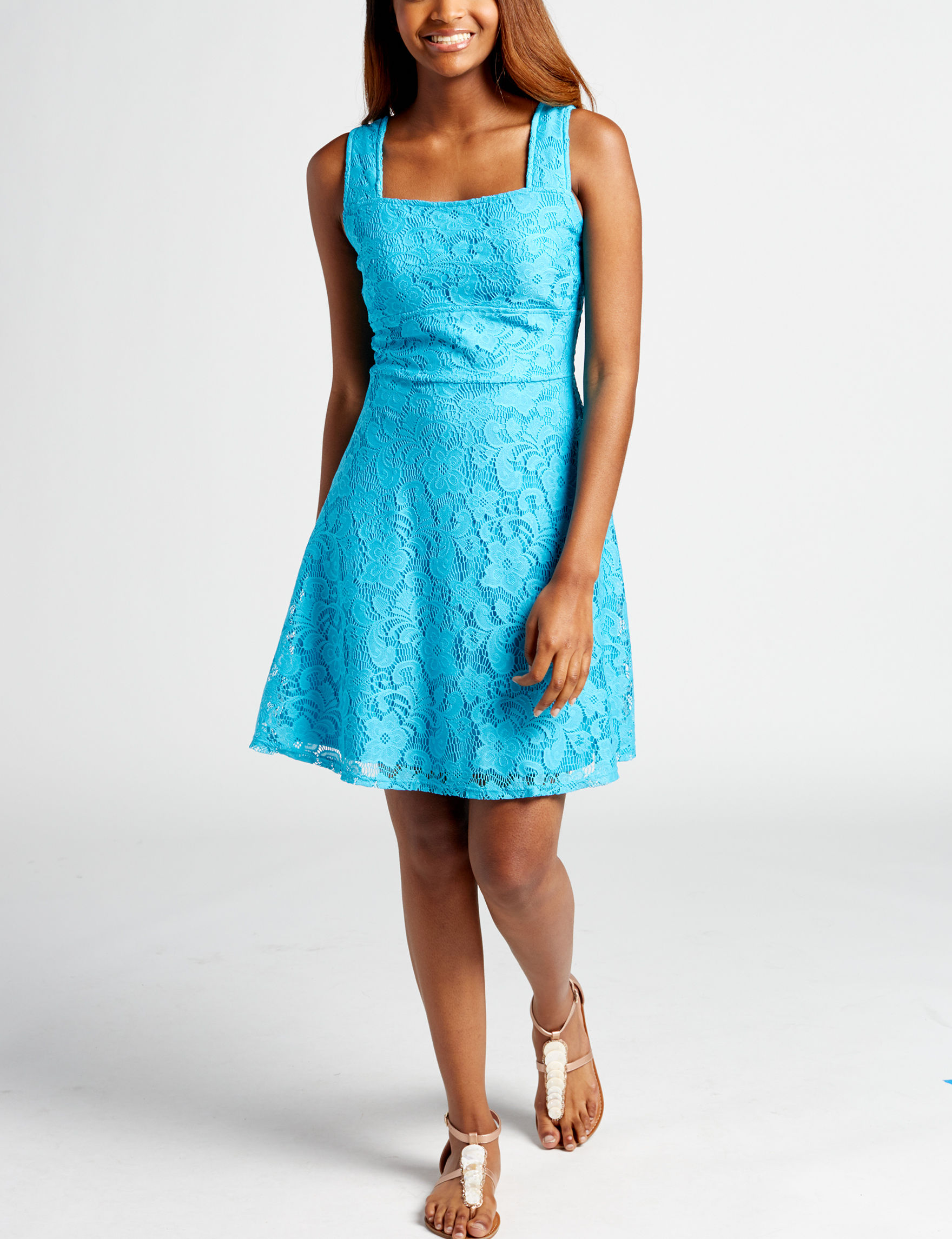BeBop Turquoise Everyday & Casual Fit & Flare Dresses