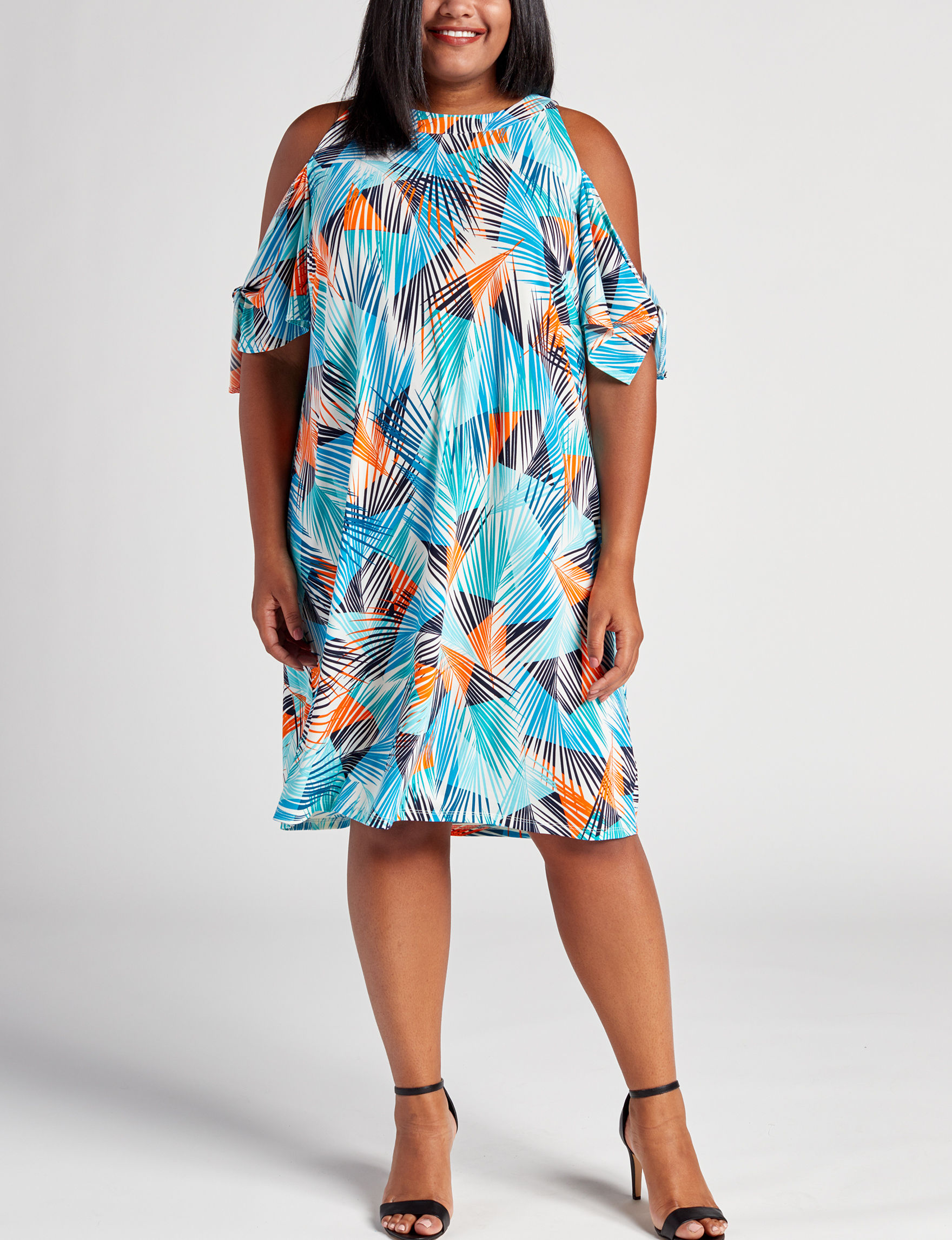 London Times Blue Multi Everyday & Casual Shift Dresses