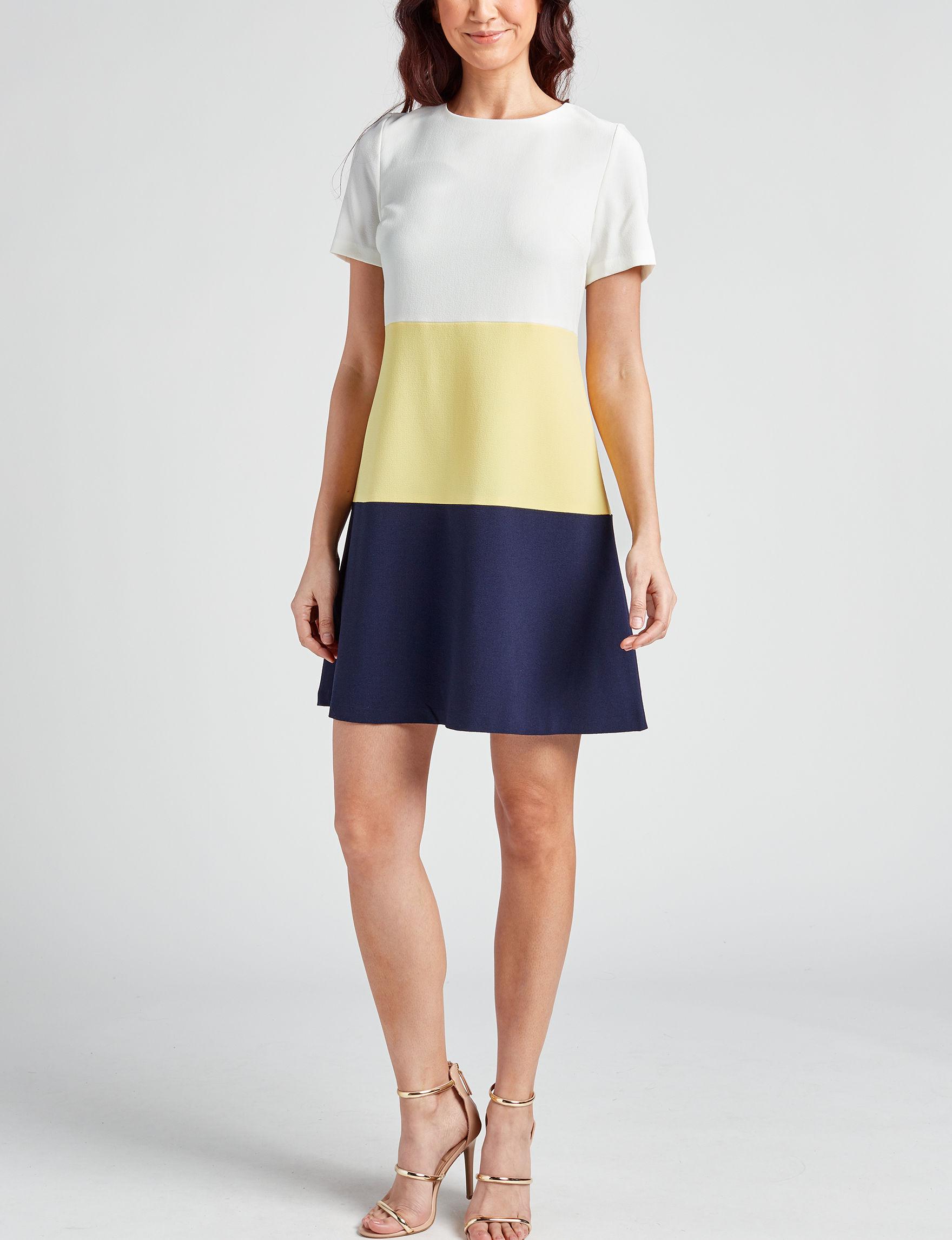 Sandra Darren White Multi Everyday & Casual A-line Dresses Fit & Flare Dresses