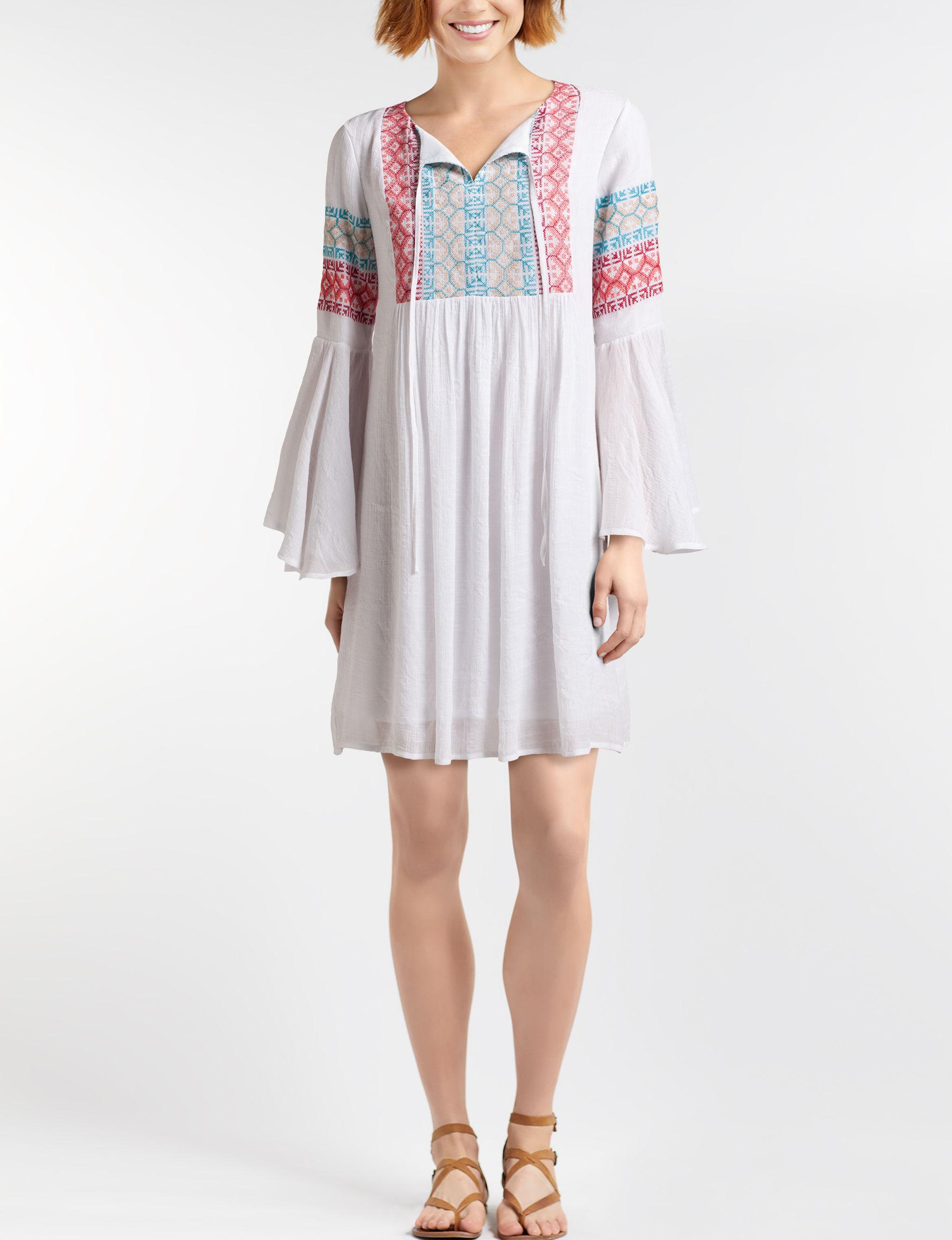 Nina Leonard White Everyday & Casual Shift Dresses