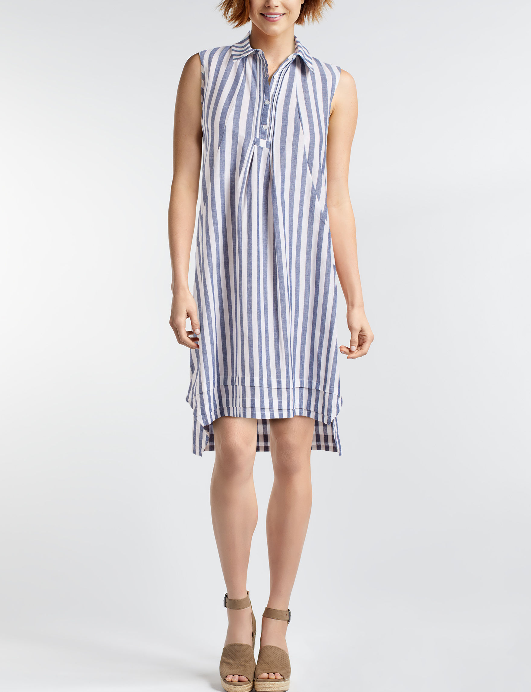 Hope & Harlow Blue / White Everyday & Casual Shirt Dresses