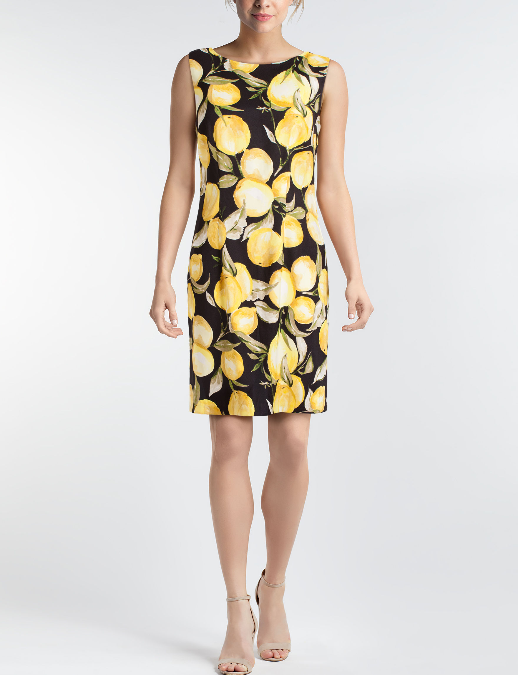 A. Byer Black / Yellow Everyday & Casual Sheath Dresses