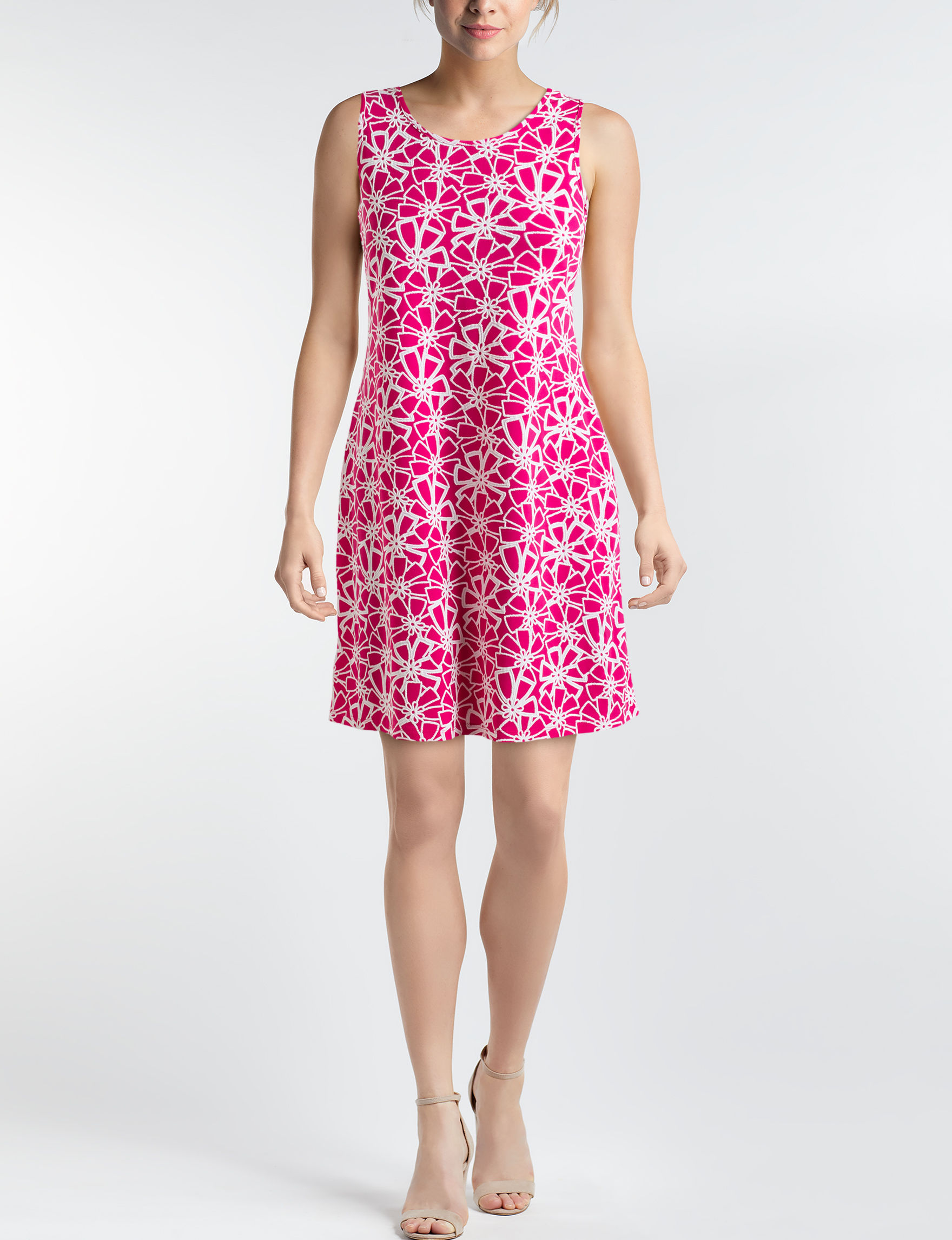 Ronni Nicole Fuschia / White Everyday & Casual A-line Dresses Fit & Flare Dresses