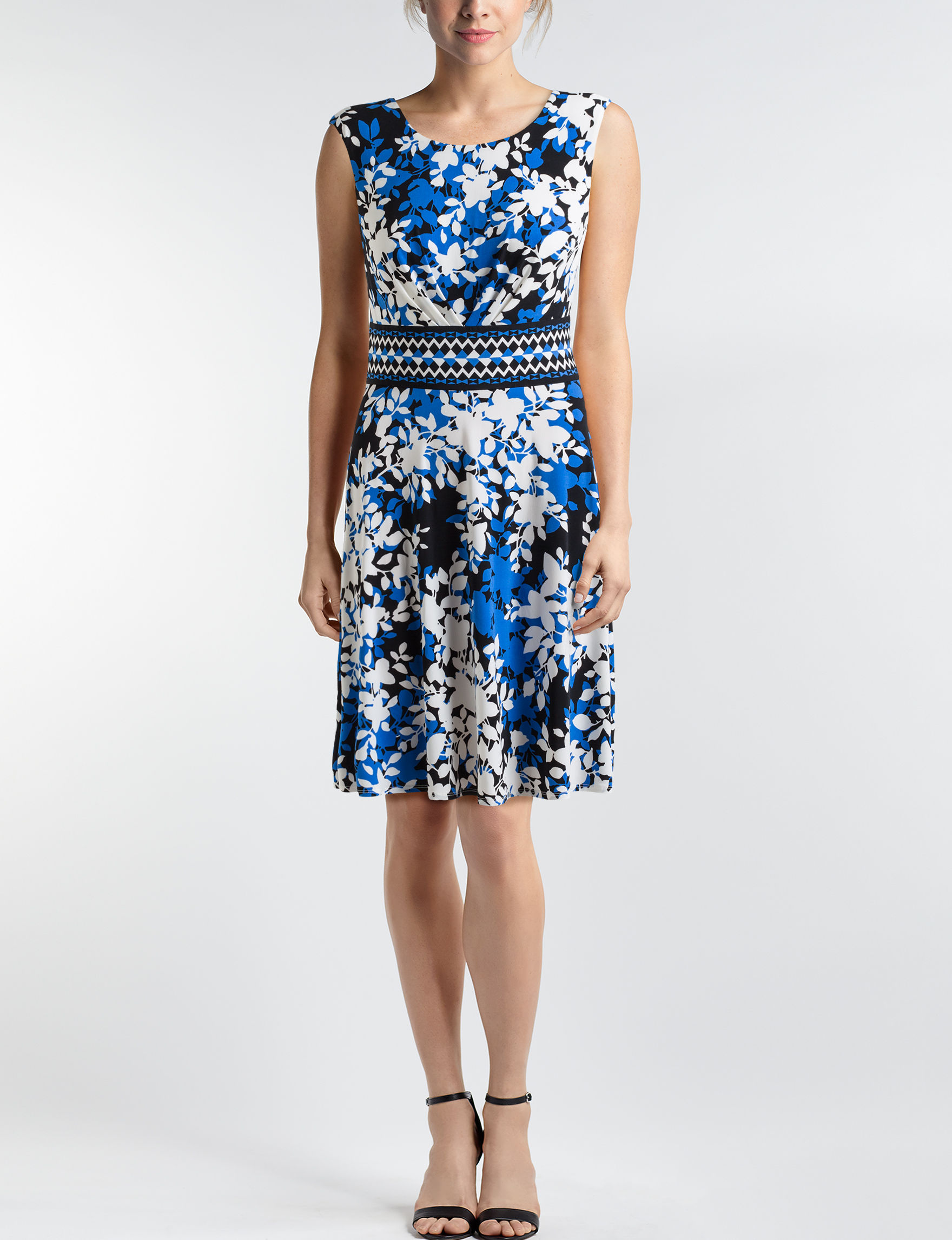London Times Black / Blue Everyday & Casual A-line Dresses Fit & Flare Dresses