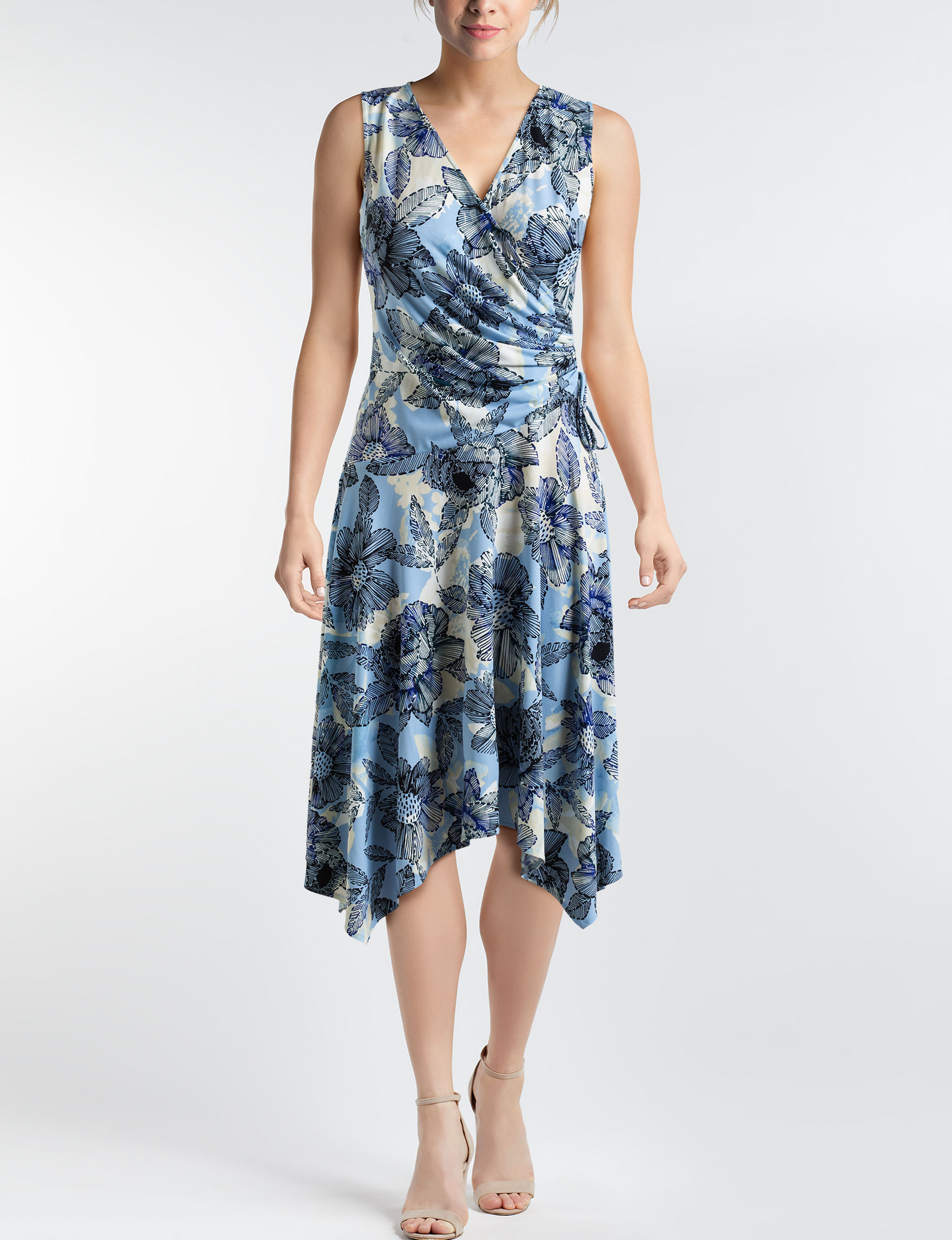 London Times Blue Multi Everyday & Casual A-line Dresses Fit & Flare Dresses