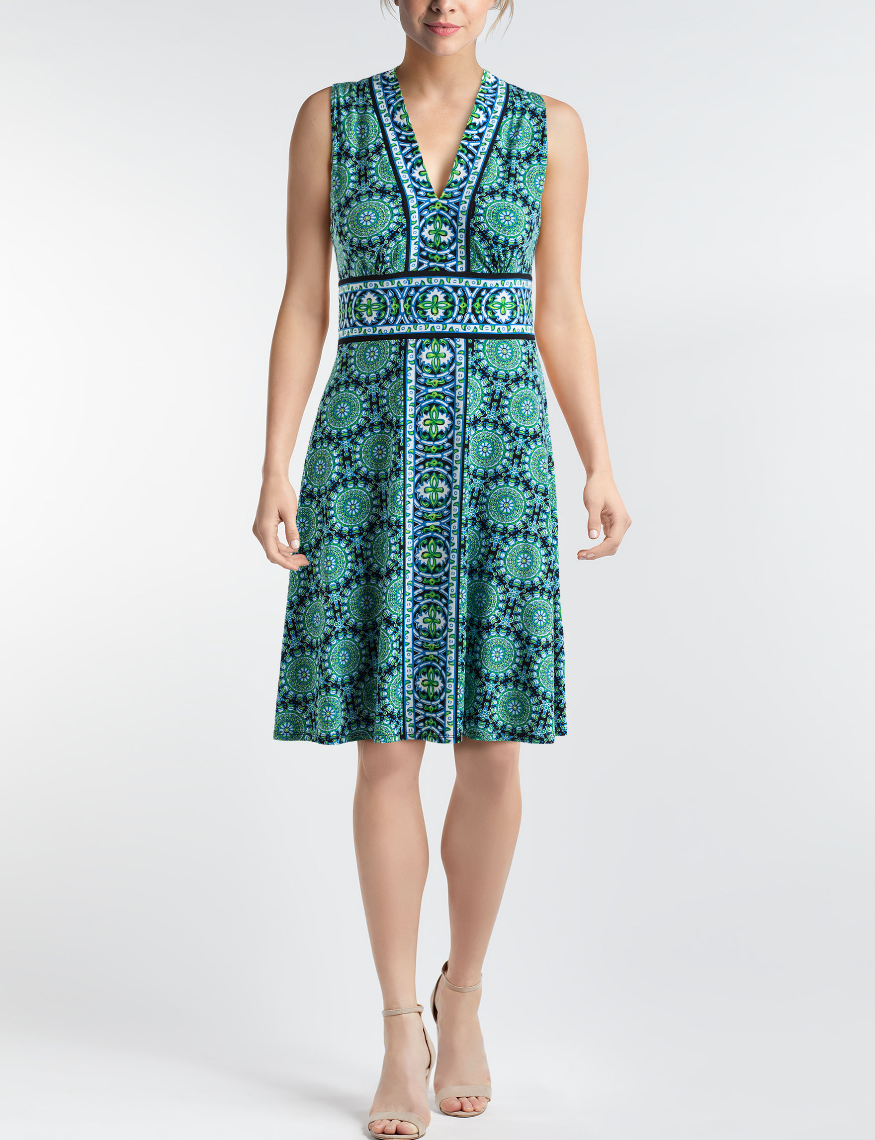 London Times Black / Green Everyday & Casual A-line Dresses Fit & Flare Dresses