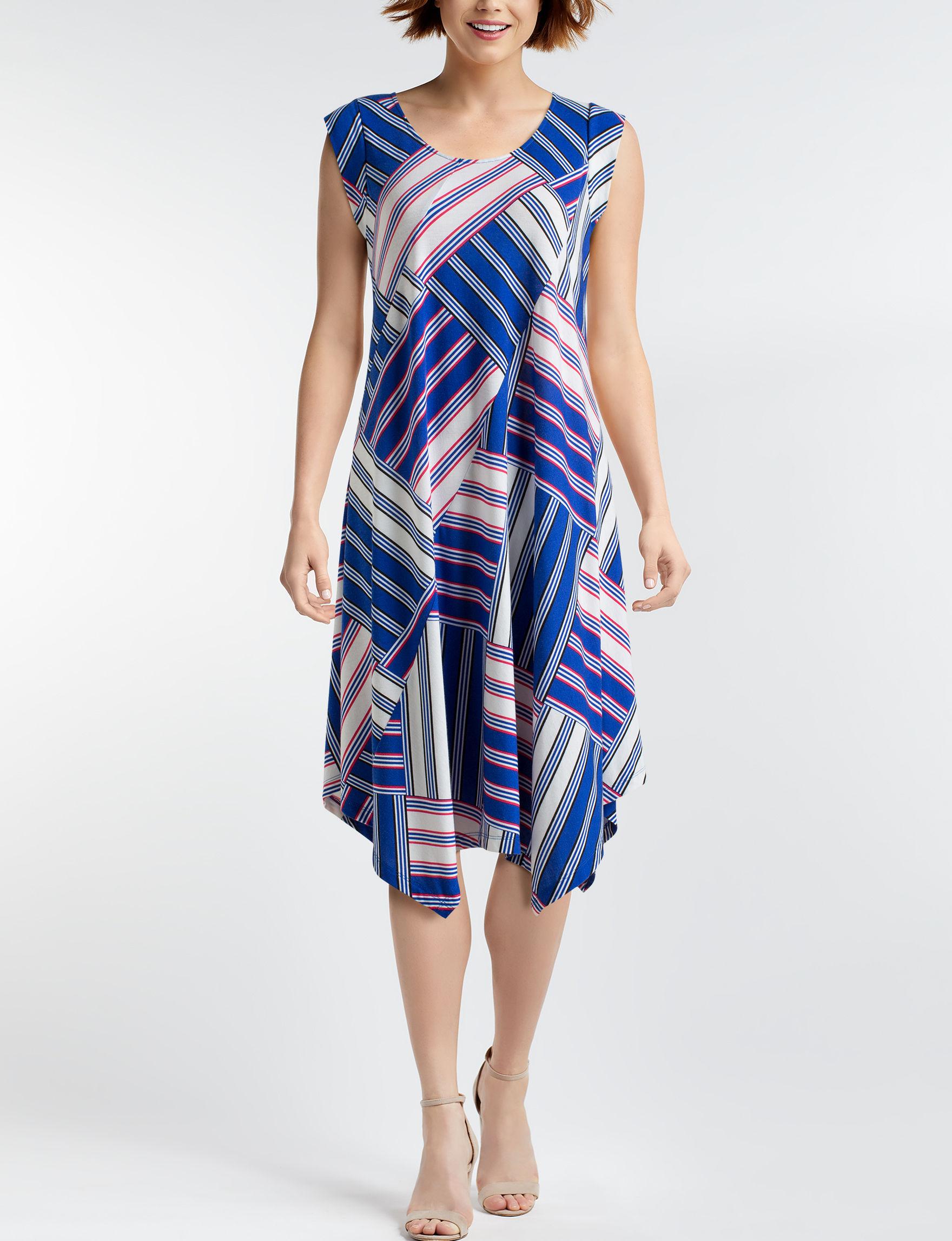 John Paul Richard Blue Multi A-line Dresses