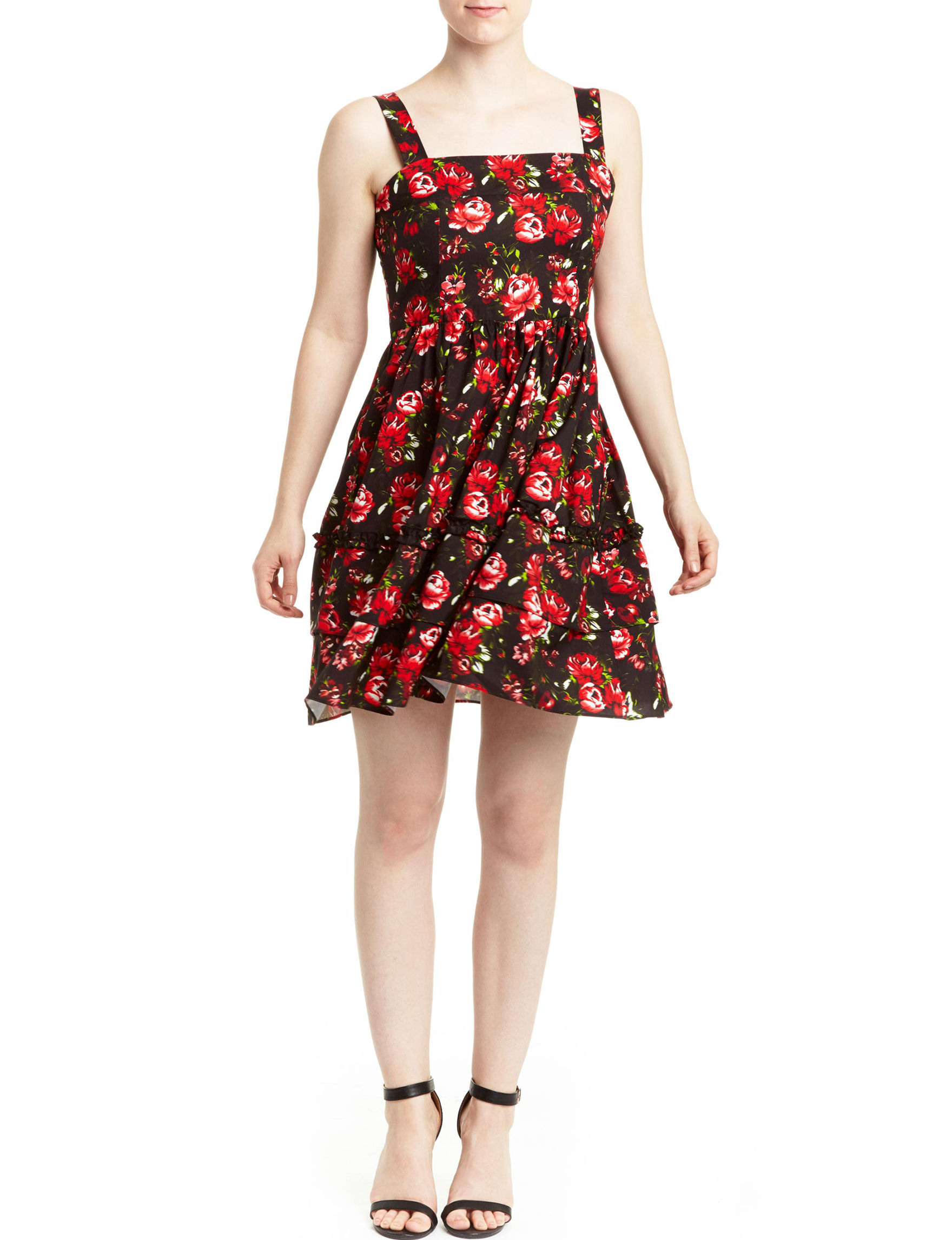 Romeo + Juliet Couture Black Floral Everyday & Casual Fit & Flare Dresses