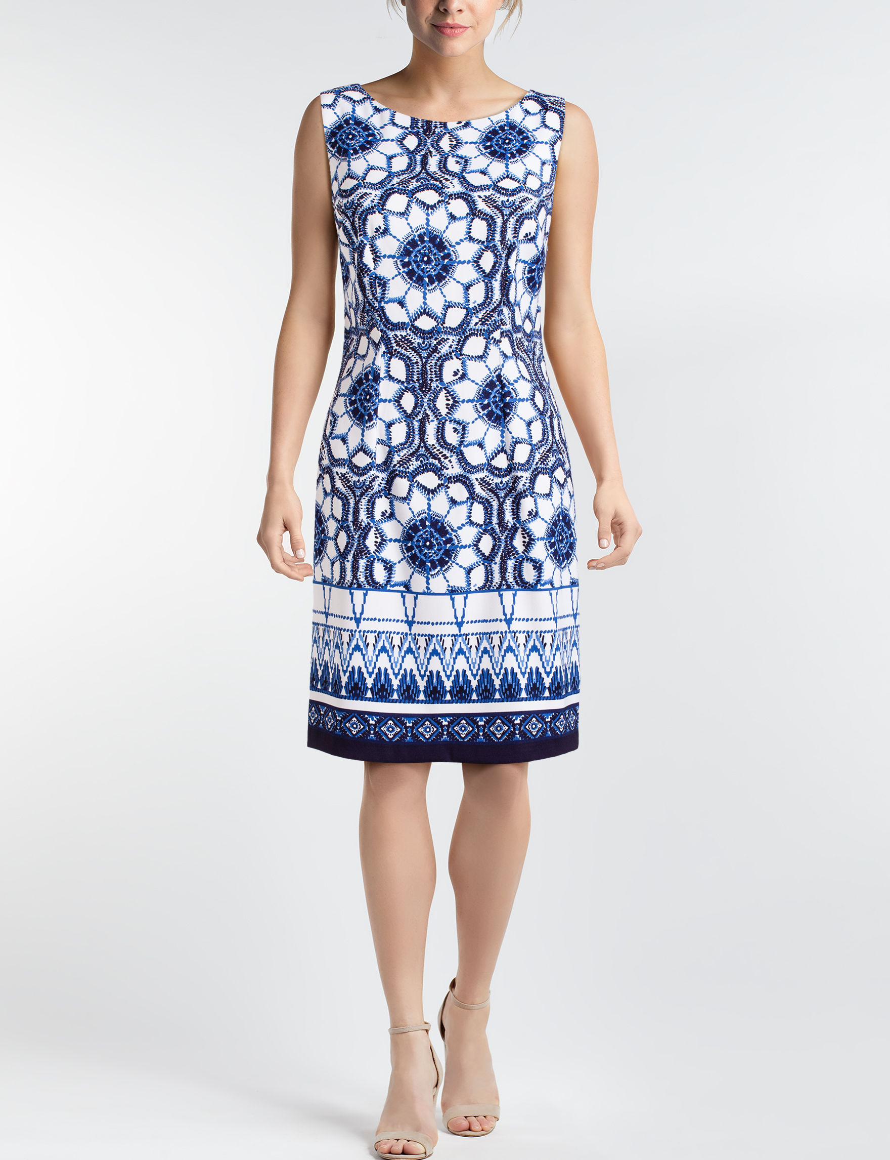 A. Byer White / Blue Everyday & Casual Sheath Dresses
