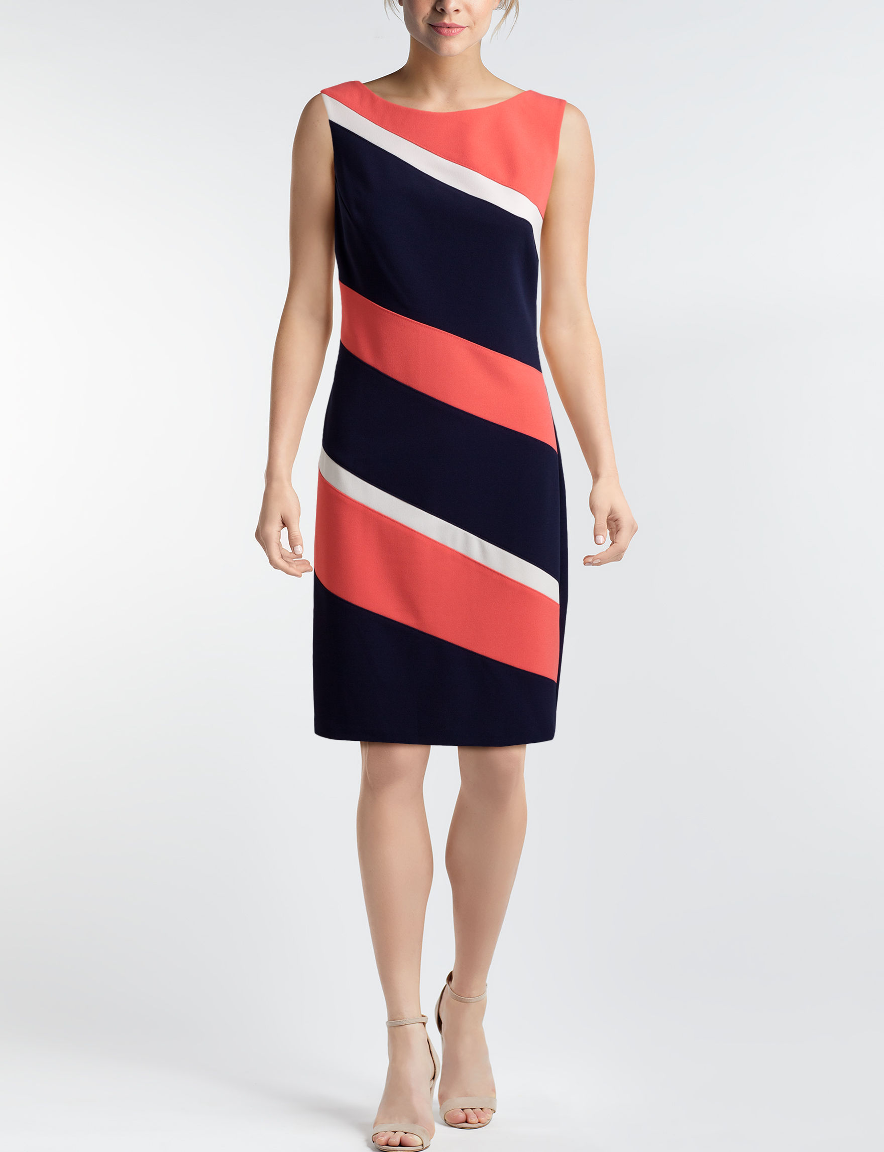 Connected Navy / Coral Everyday & Casual Sheath Dresses