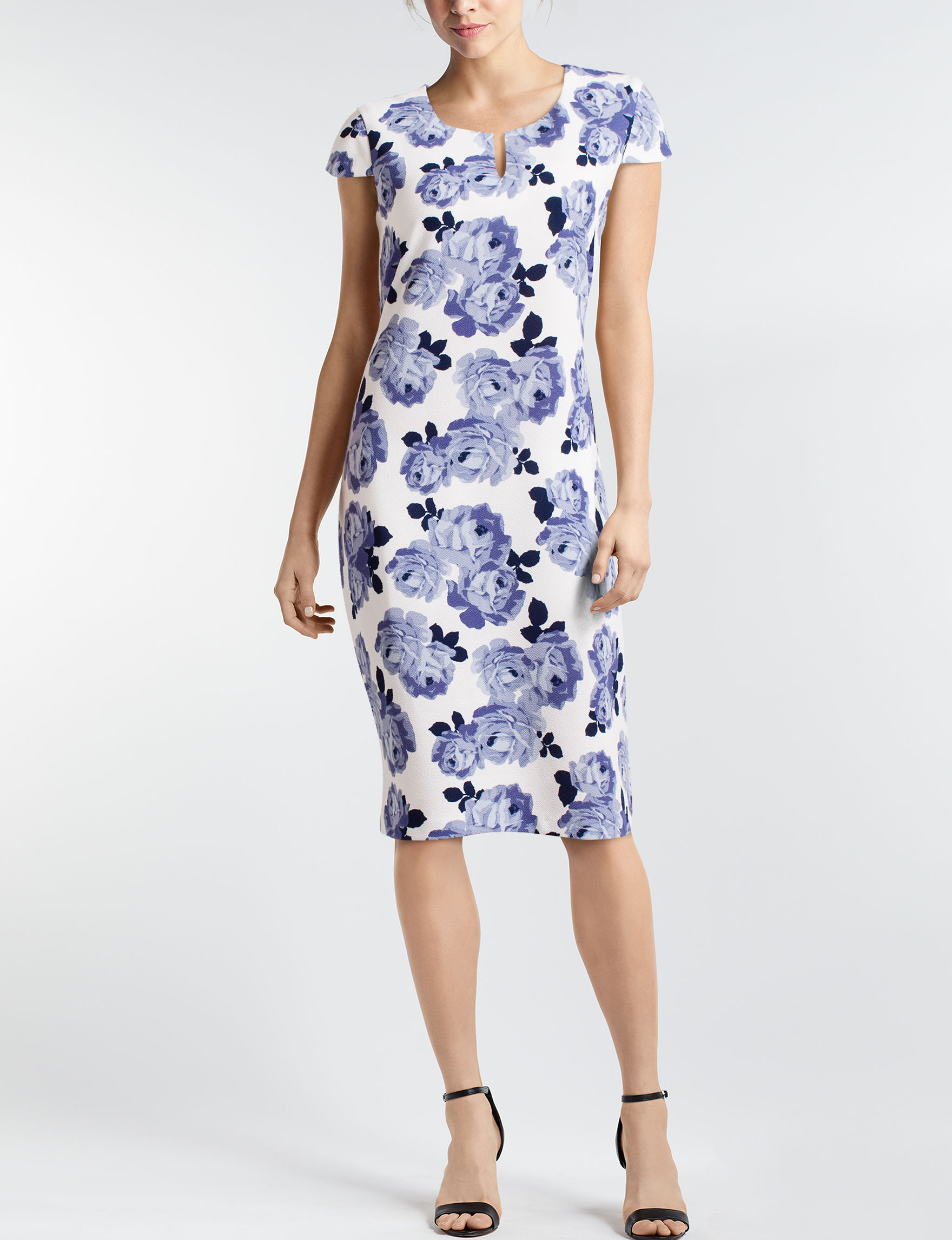 Connected White / Blue Everyday & Casual Sheath Dresses
