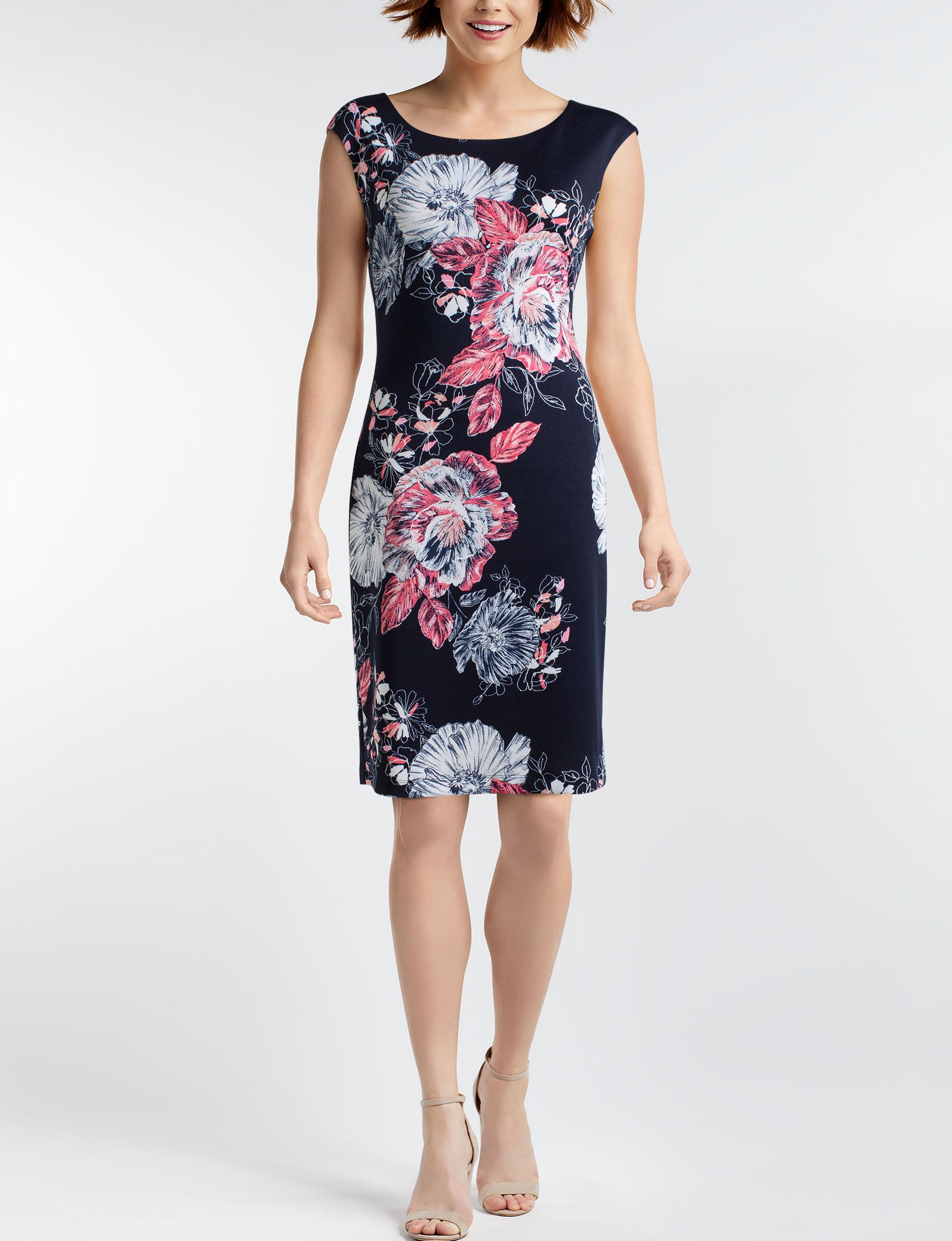 Connected Black Floral Everyday & Casual Scuba Dresses Sheath Dresses
