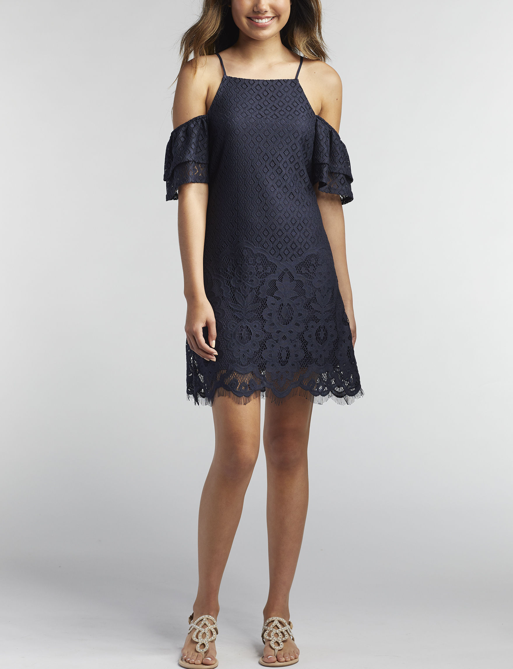 Speechless Navy Cocktail & Party Everyday & Casual Shift Dresses Sundresses