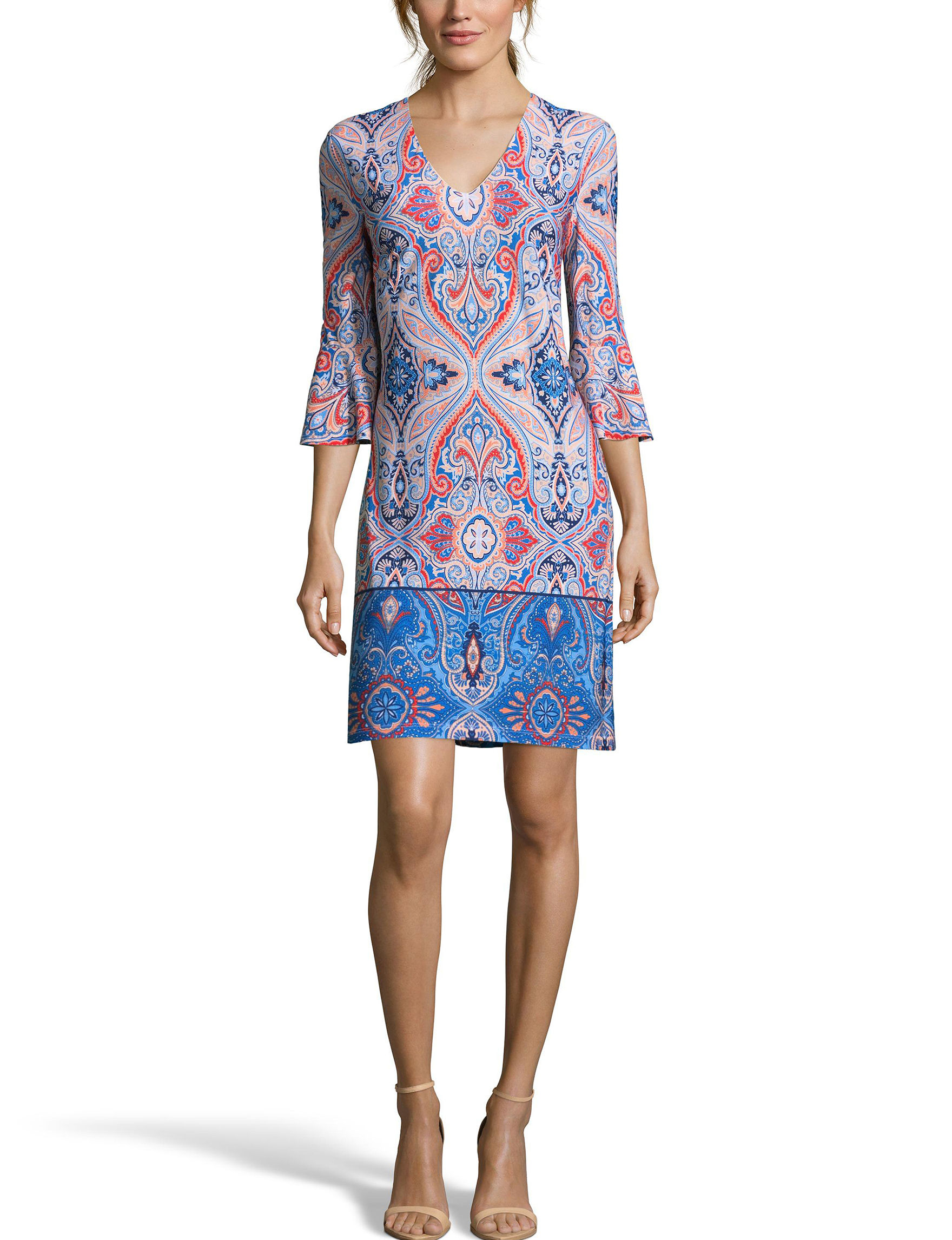 Nicole Miller Blue / Coral Everyday & Casual Shift Dresses
