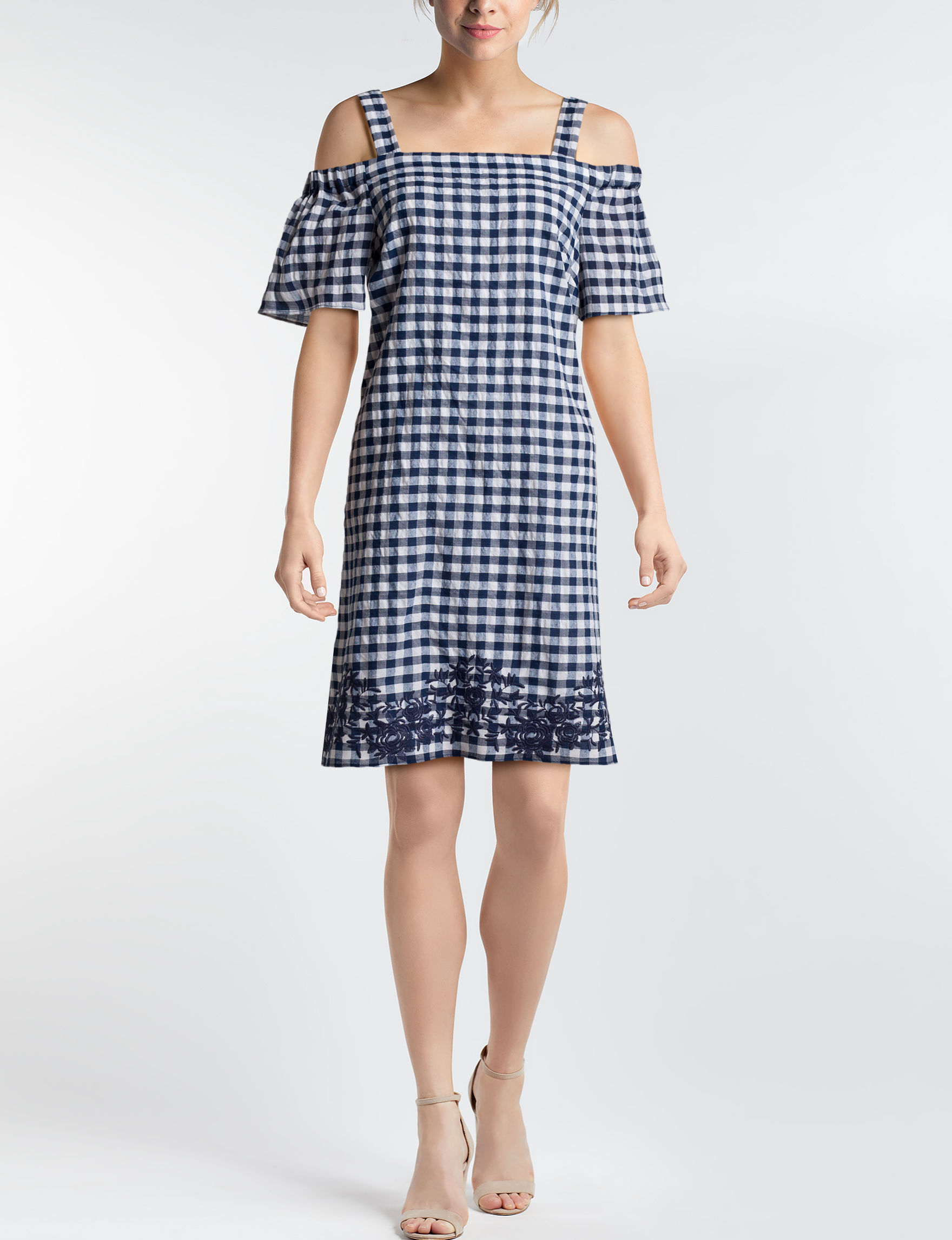 Nine West Navy / White Everyday & Casual A-line Dresses Sundresses