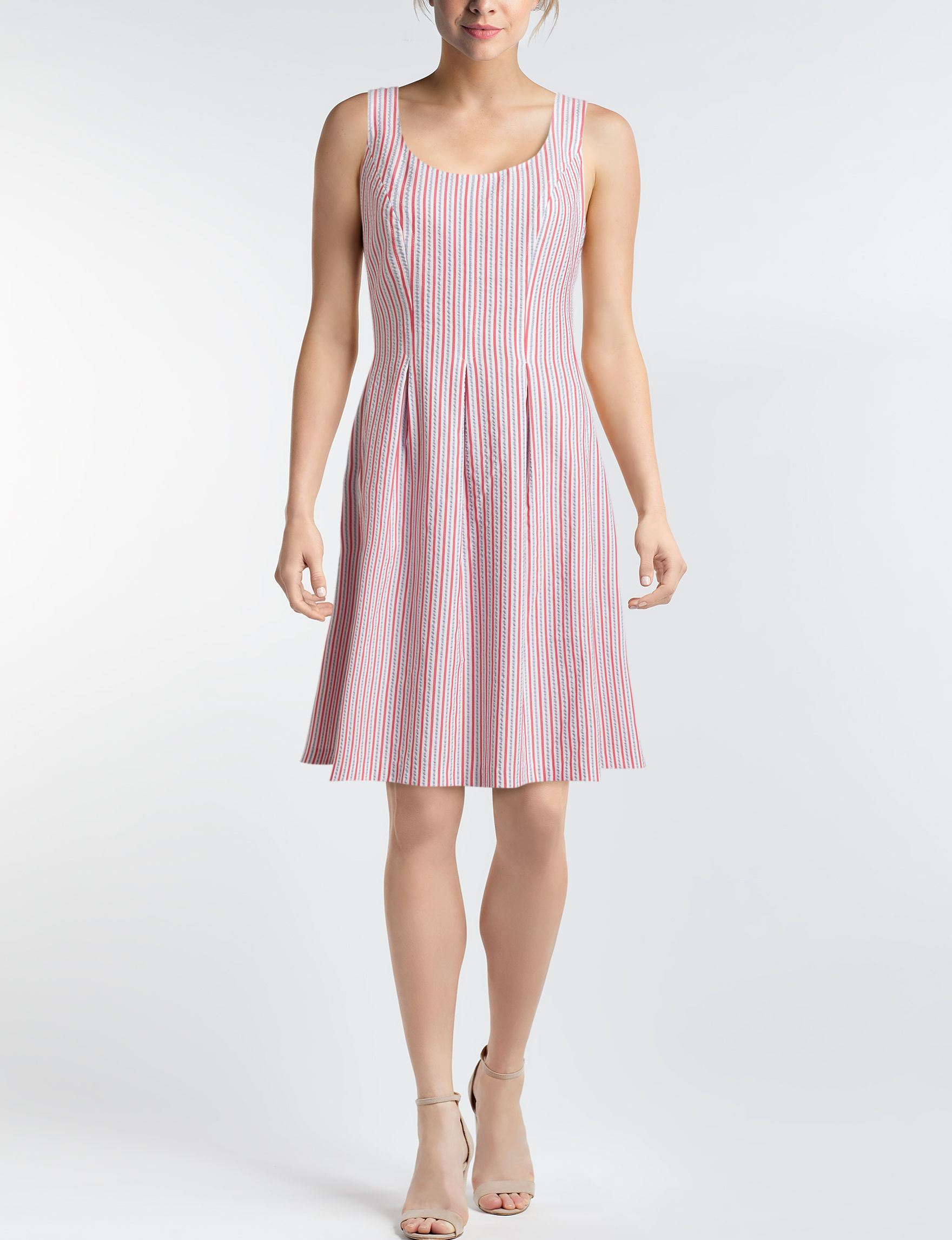 Nine West White / Red Everyday & Casual A-line Dresses