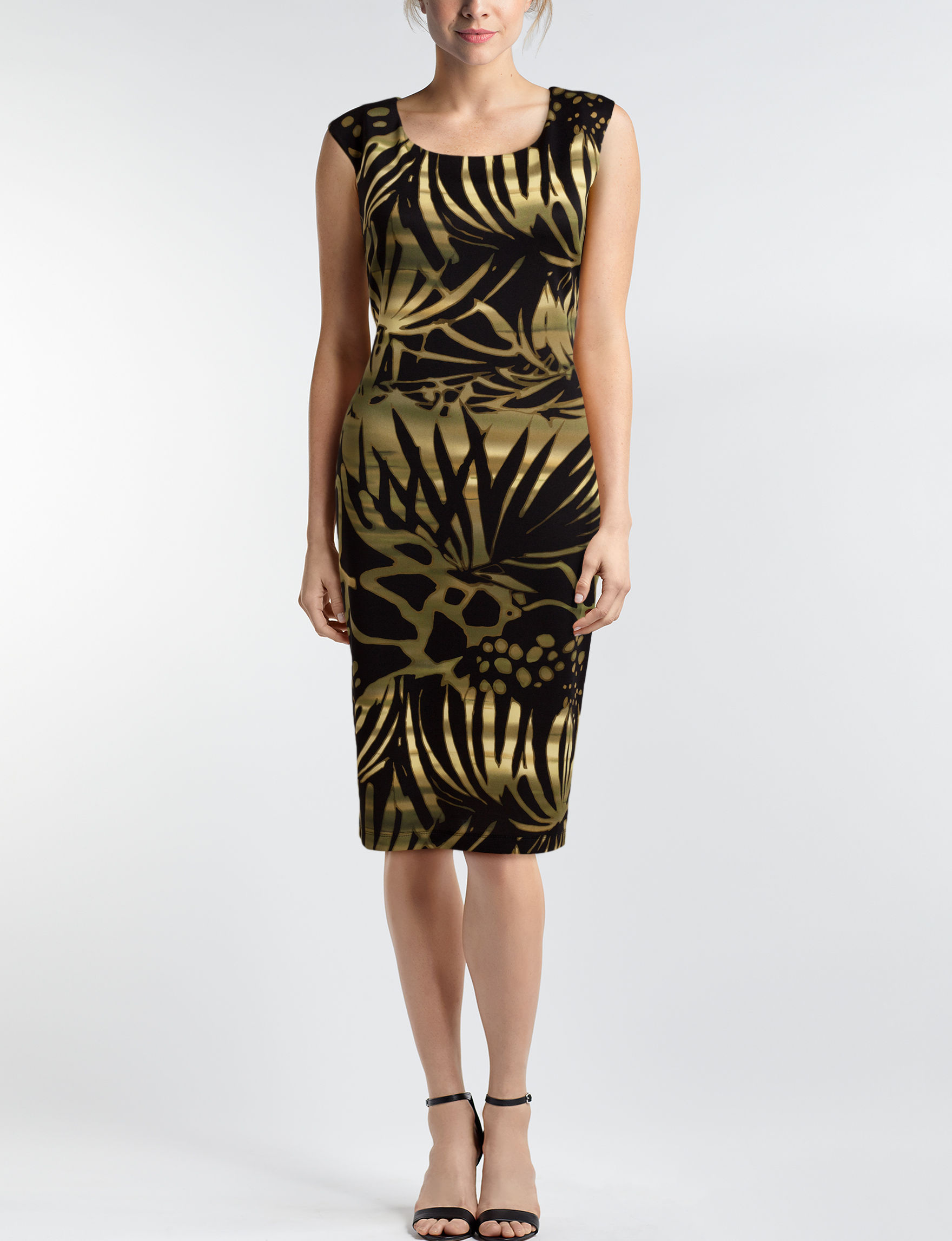Connected Black / Gold Sheath Dresses