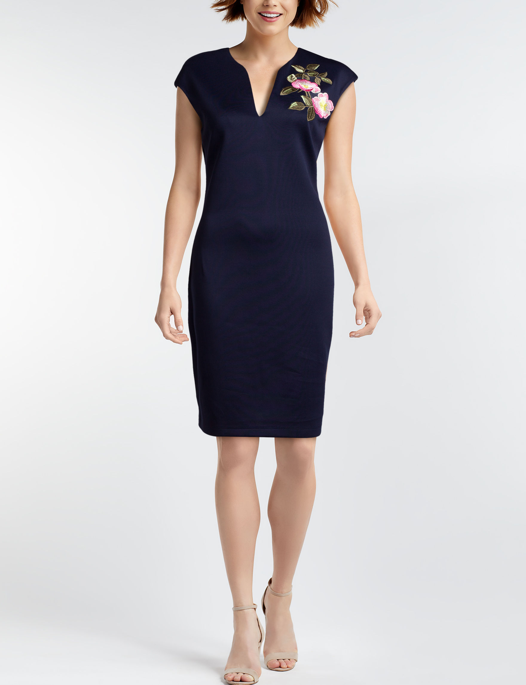 Connected Navy Sheath Dresses