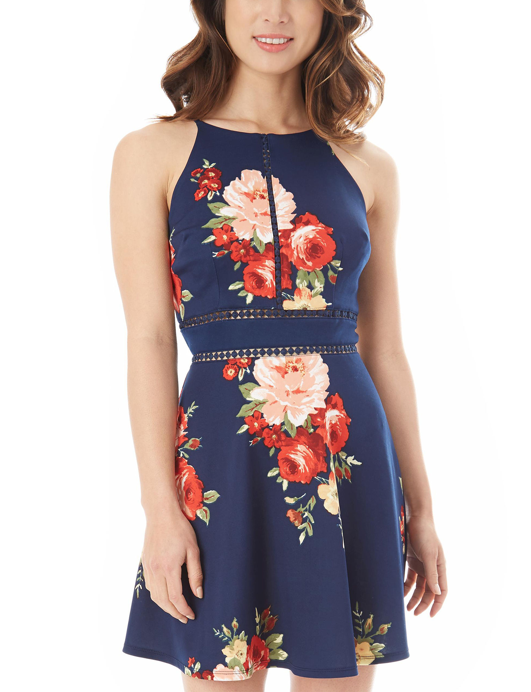 A. Byer Navy Floral Cocktail & Party Everyday & Casual Fit & Flare Dresses Sundresses