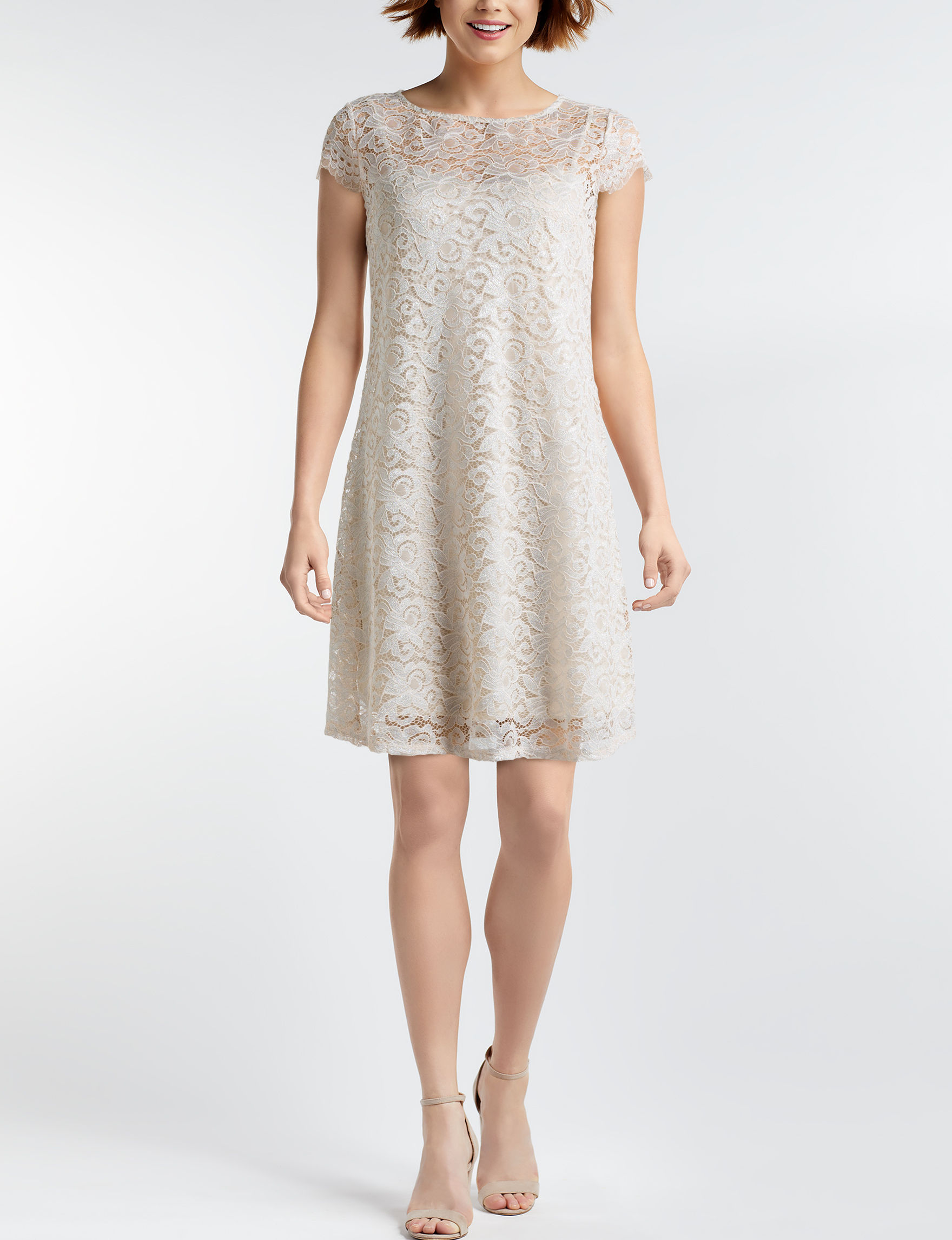 Marina Taupe Cocktail & Party Evening & Formal A-line Dresses Fit & Flare Dresses