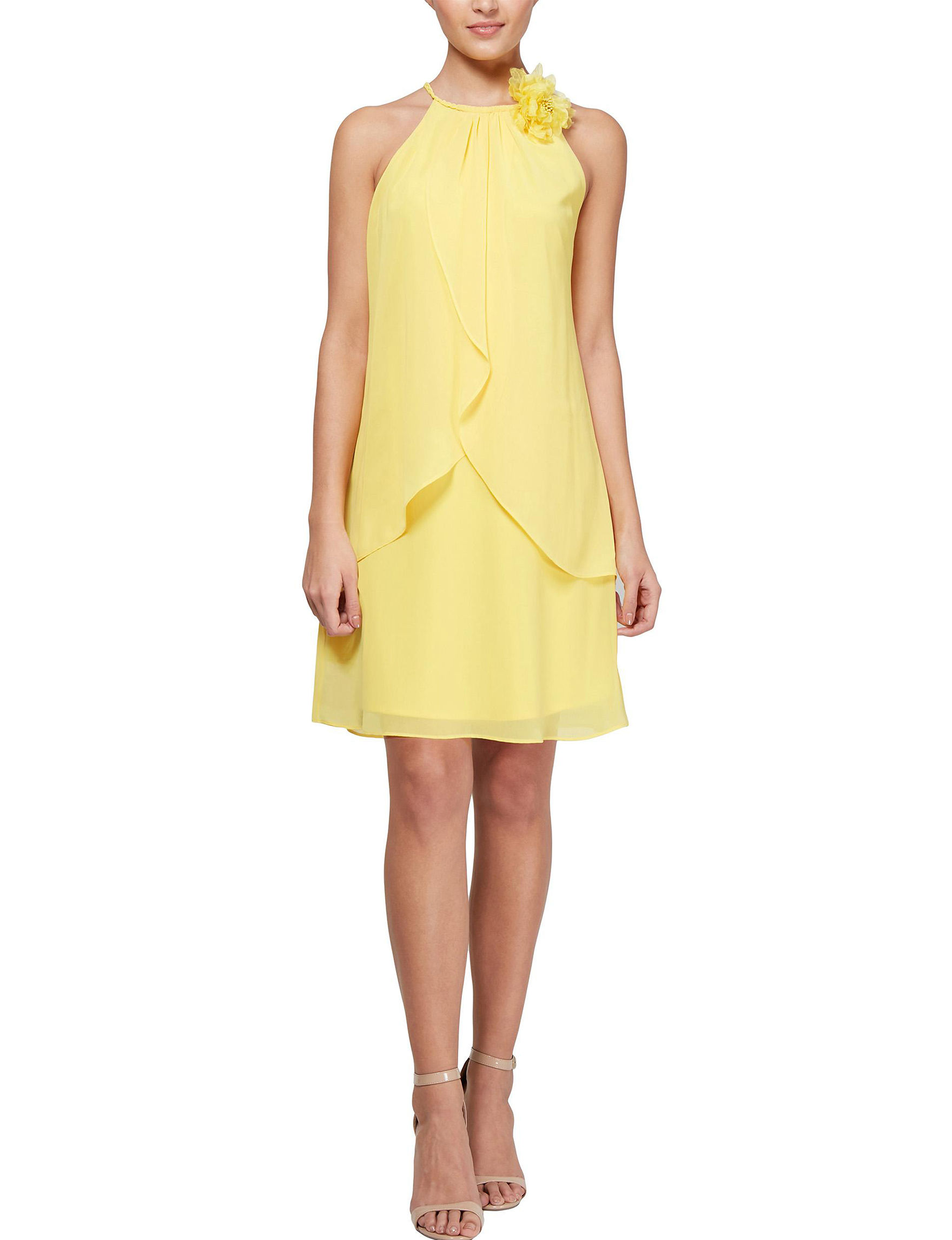 S.L. Fashions Yellow Cocktail & Party Evening & Formal Shift Dresses