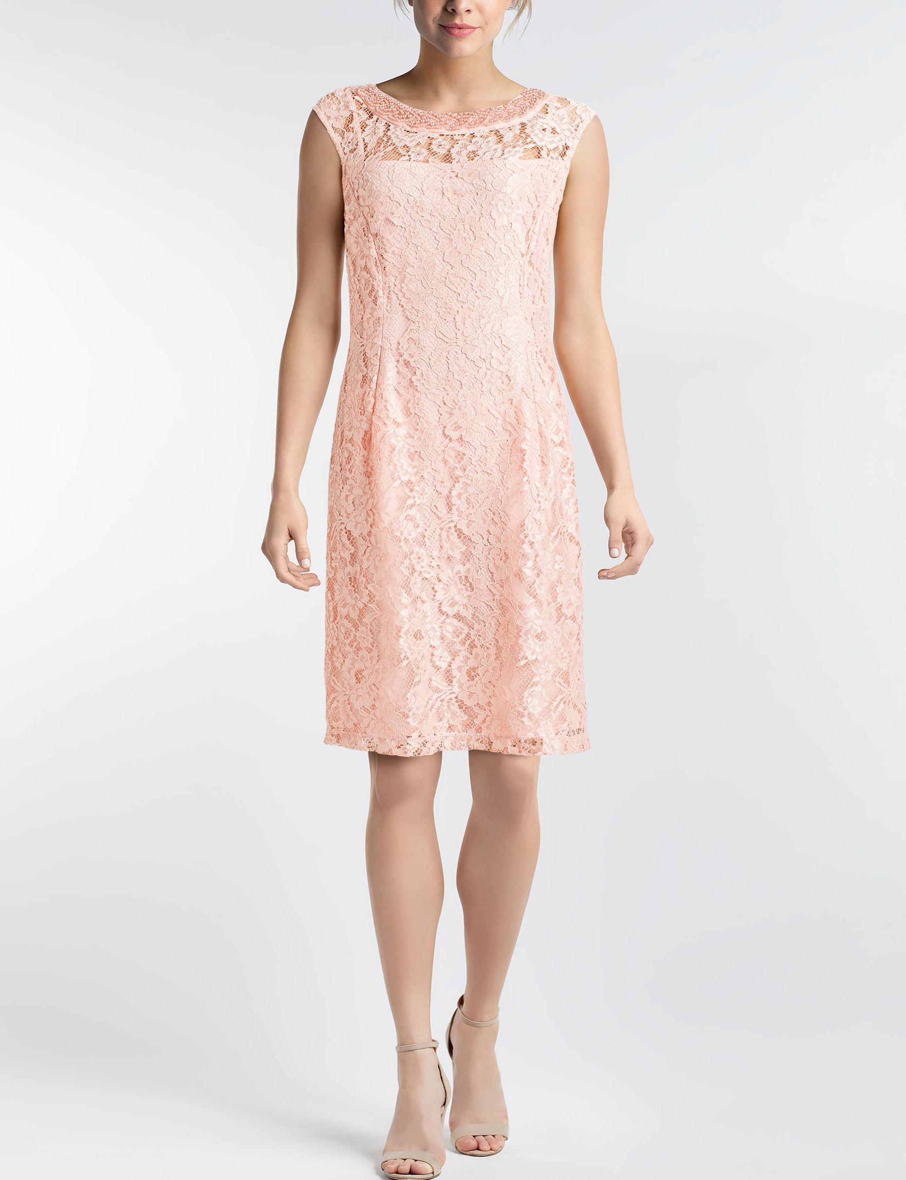 Sandra Darren Coral Cocktail & Party Evening & Formal A-line Dresses Fit & Flare Dresses