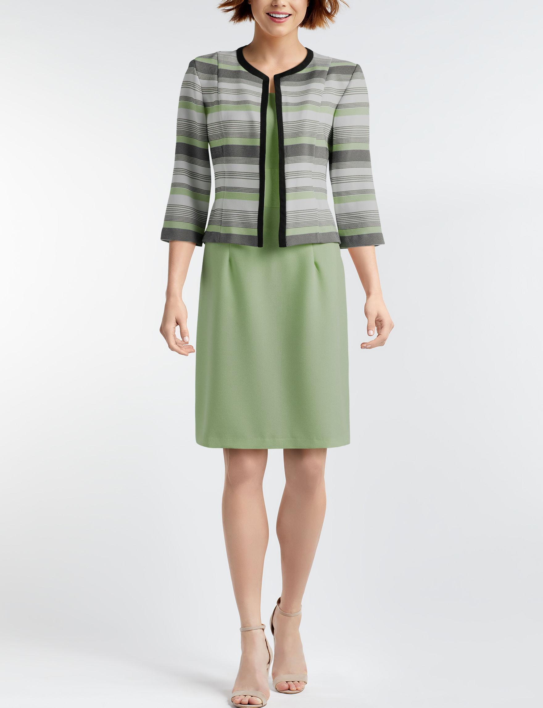 Nina Leonard Green Multi Everyday & Casual Jacket Dresses
