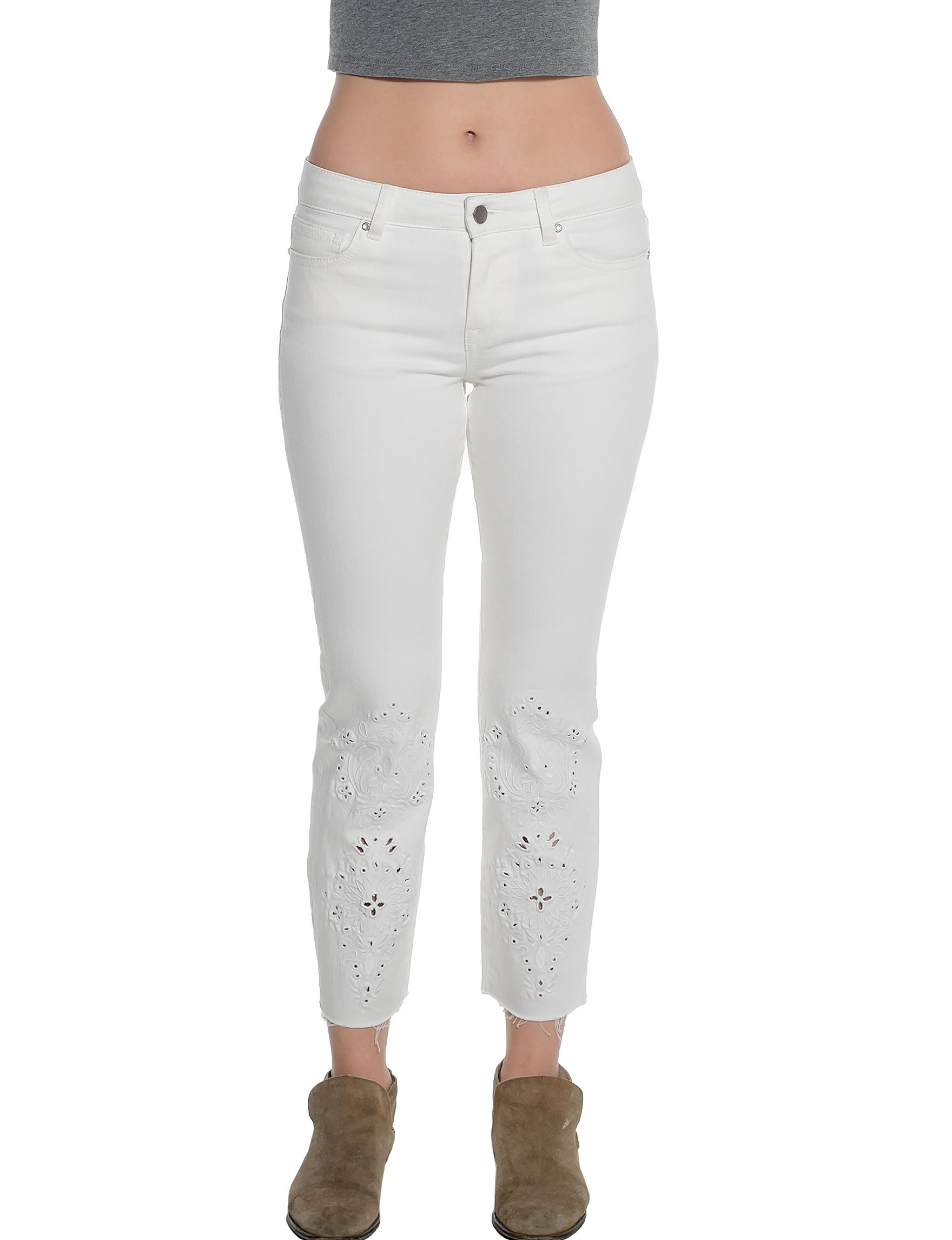 C + J Collections White Skinny