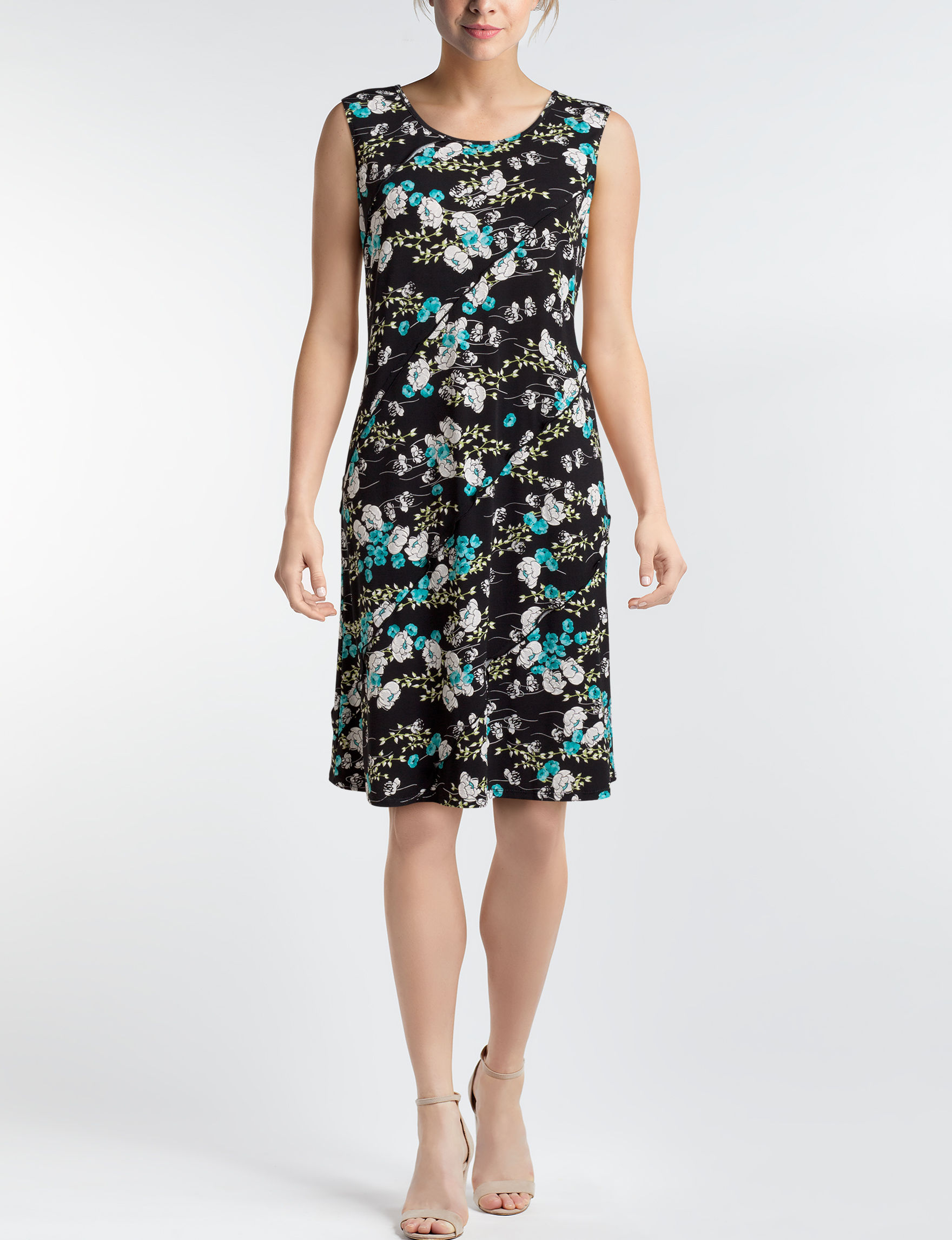 Perceptions Black Floral Everyday & Casual A-line Dresses Fit & Flare Dresses