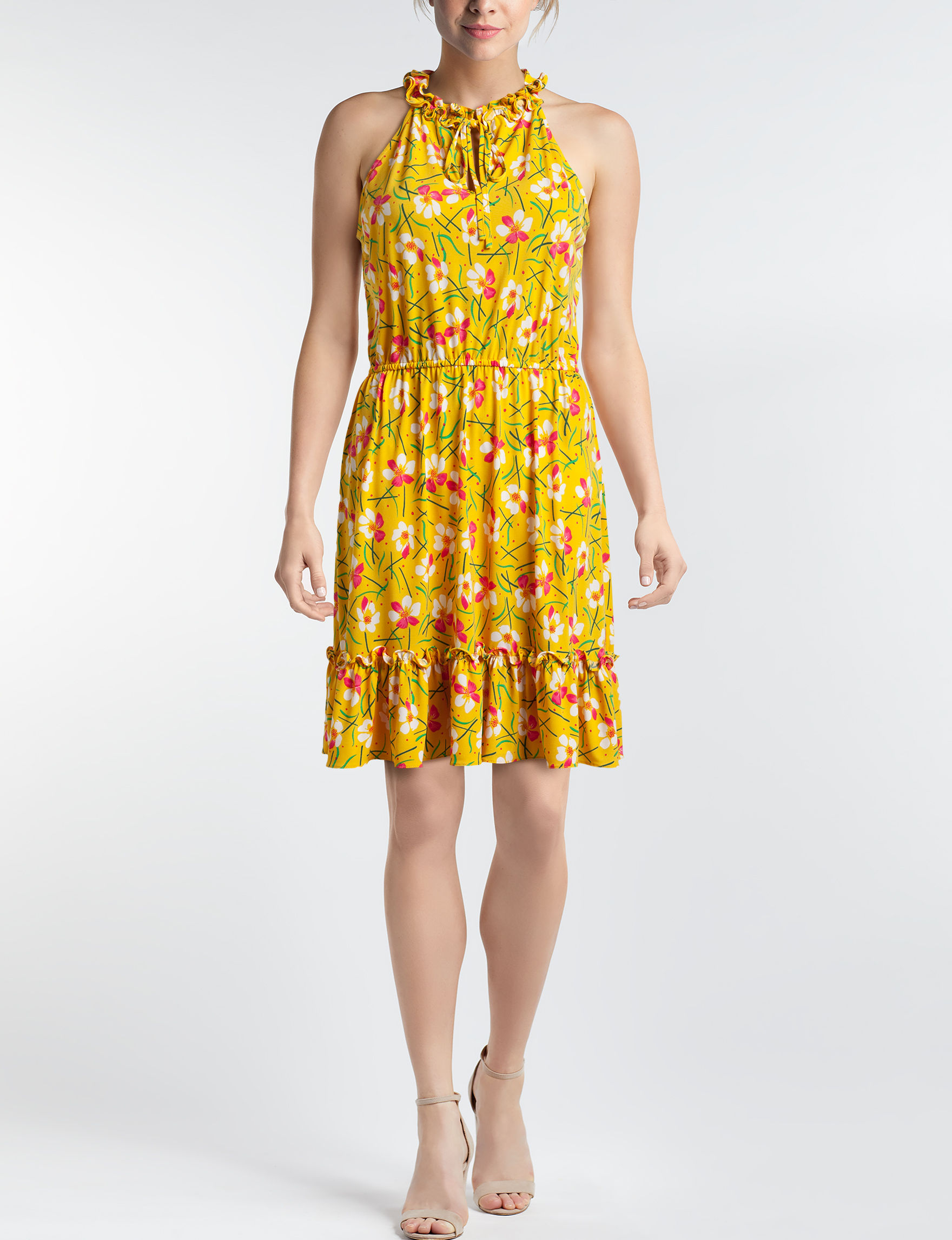 London Times Yellow Multi Everyday & Casual A-line Dresses Fit & Flare Dresses