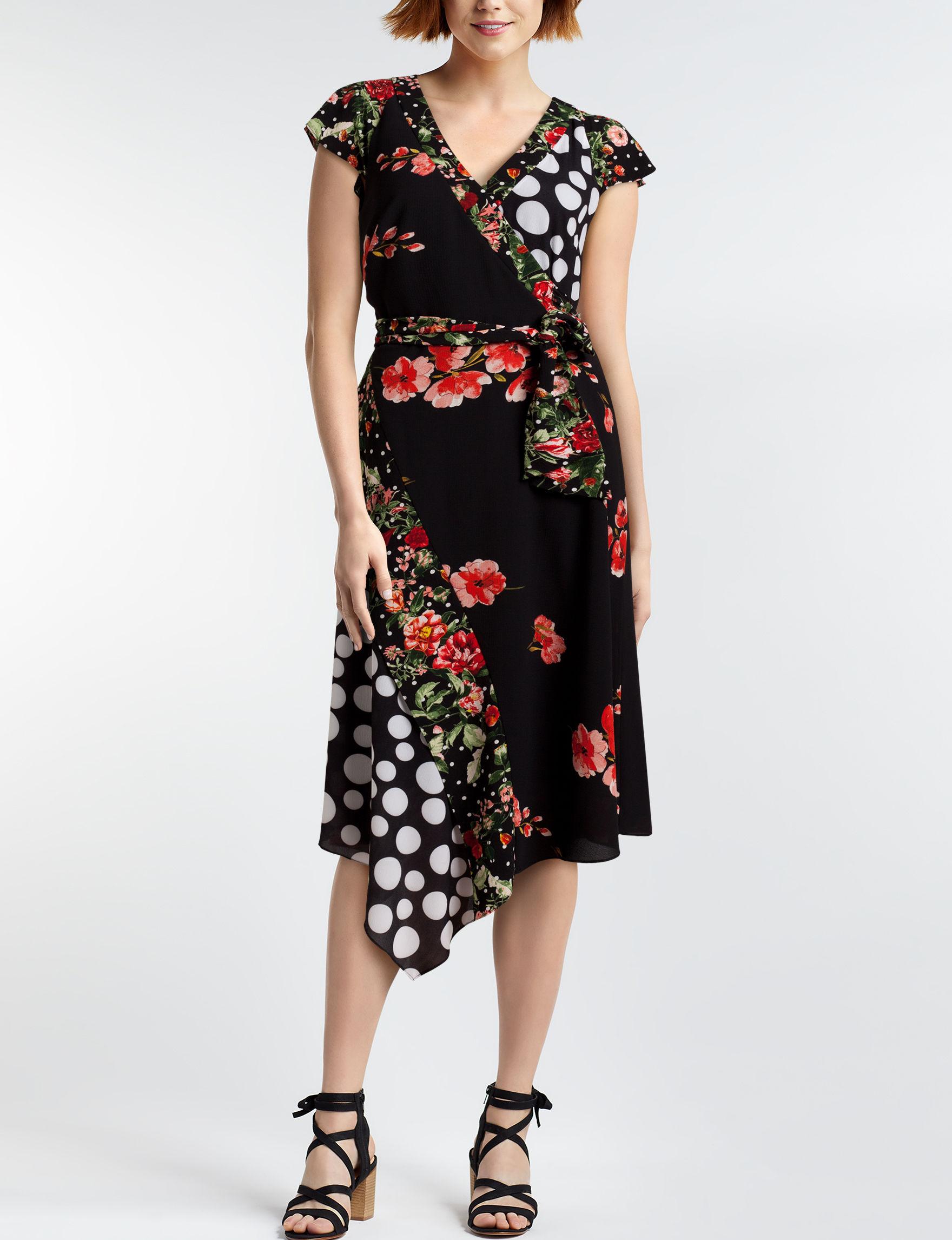 Sangria Black Multi Everyday & Casual A-line Dresses Fit & Flare Dresses